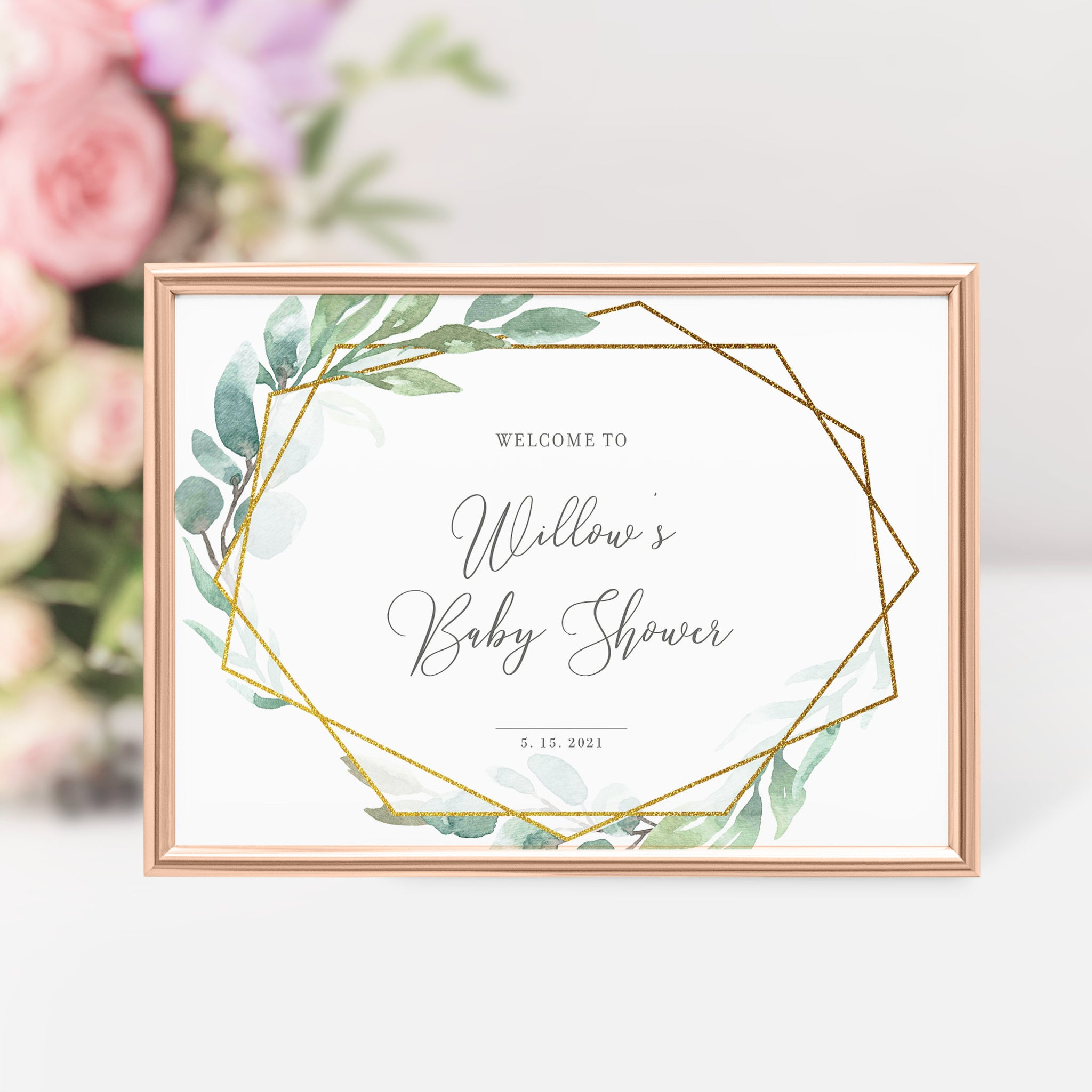 Greenery Baby Shower Welcome Sign Template, Large Welcome Sign Printable, Baby Shower Decorations Greenery, DIGITAL DOWNLOAD - GFG100