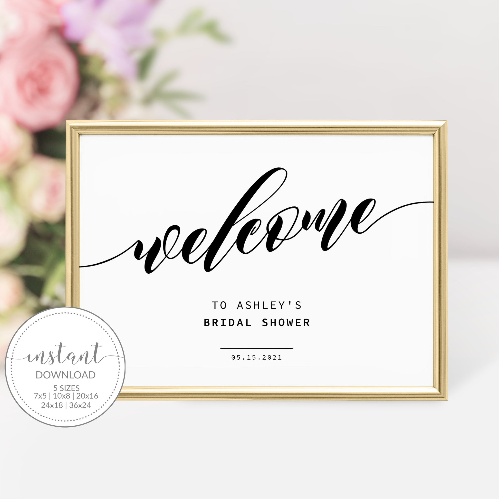 Bridal Shower Welcome Sign Template, Large Welcome Sign Printable, Modern Black Script Bridal Shower Sign, DIGITAL DOWNLOAD - SFB100