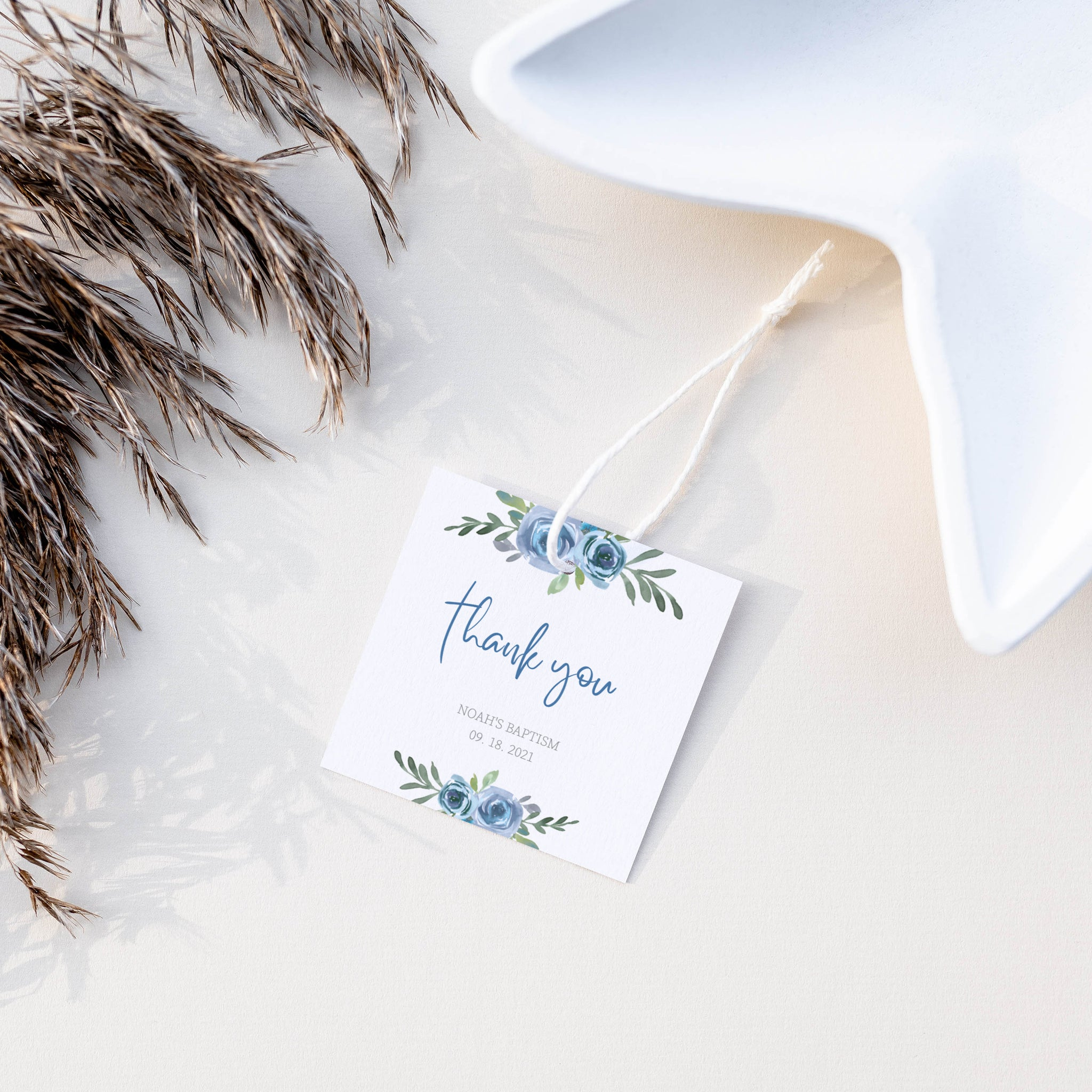 Blue Floral Baptism Favor Tag Template, Boy Baptism Thank You Tags Printable, Round Square Rectangle, Editable DIGITAL DOWNLOAD BF100
