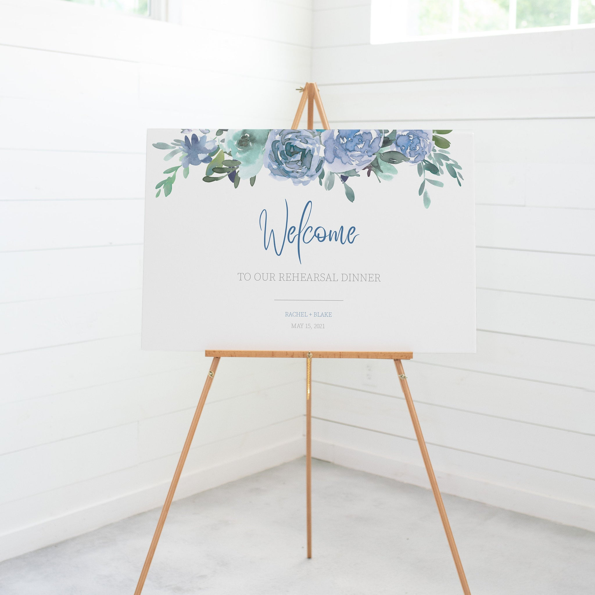Wedding Rehearsal Dinner Welcome Sign Template, Large Welcome Sign Printable, Blue Floral Wedding Rehearsal Signs, DIGITAL DOWNLOAD - BF100