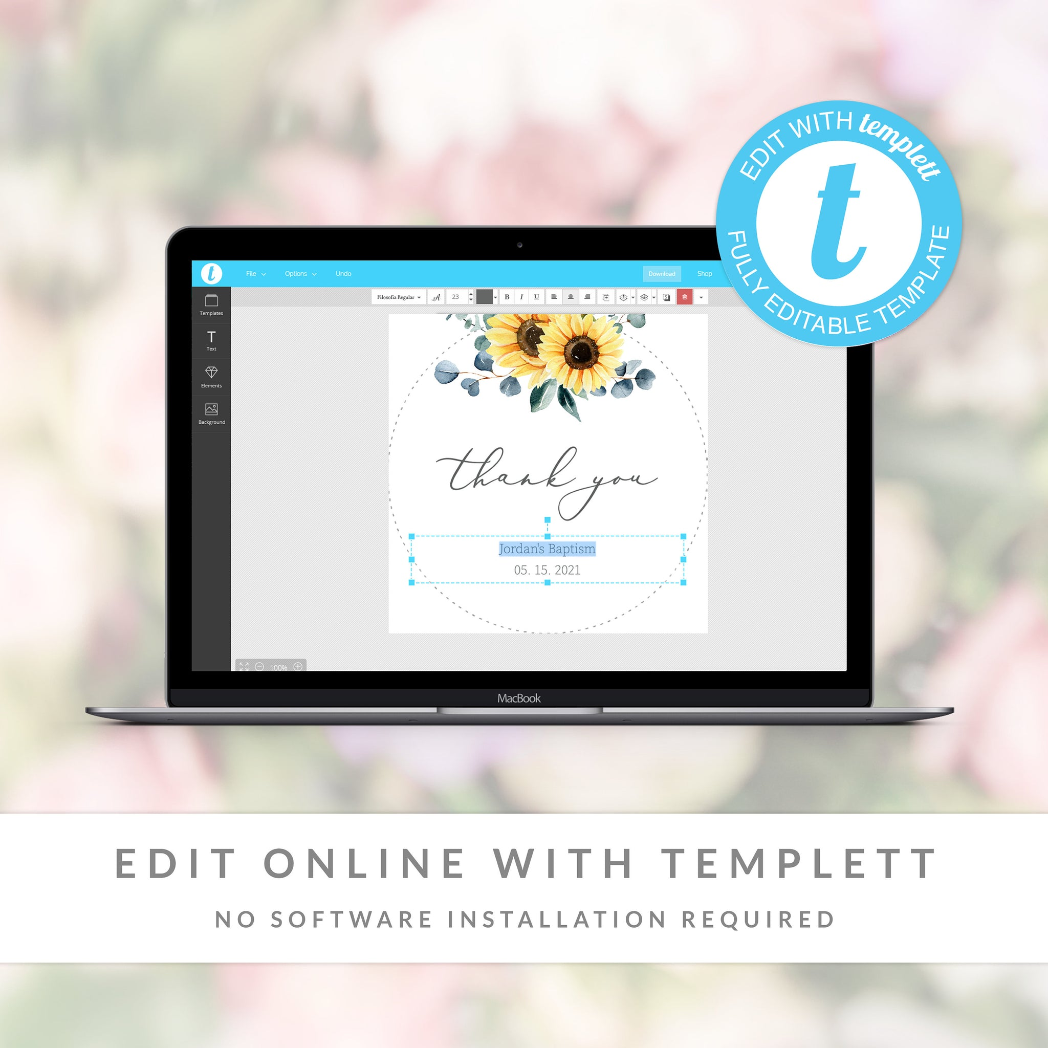 Sunflower Baptism Favor Tag Template, Sunflower Baptism Thank You Tags Printable, Round Square Rectangle, Editable DIGITAL DOWNLOAD S100