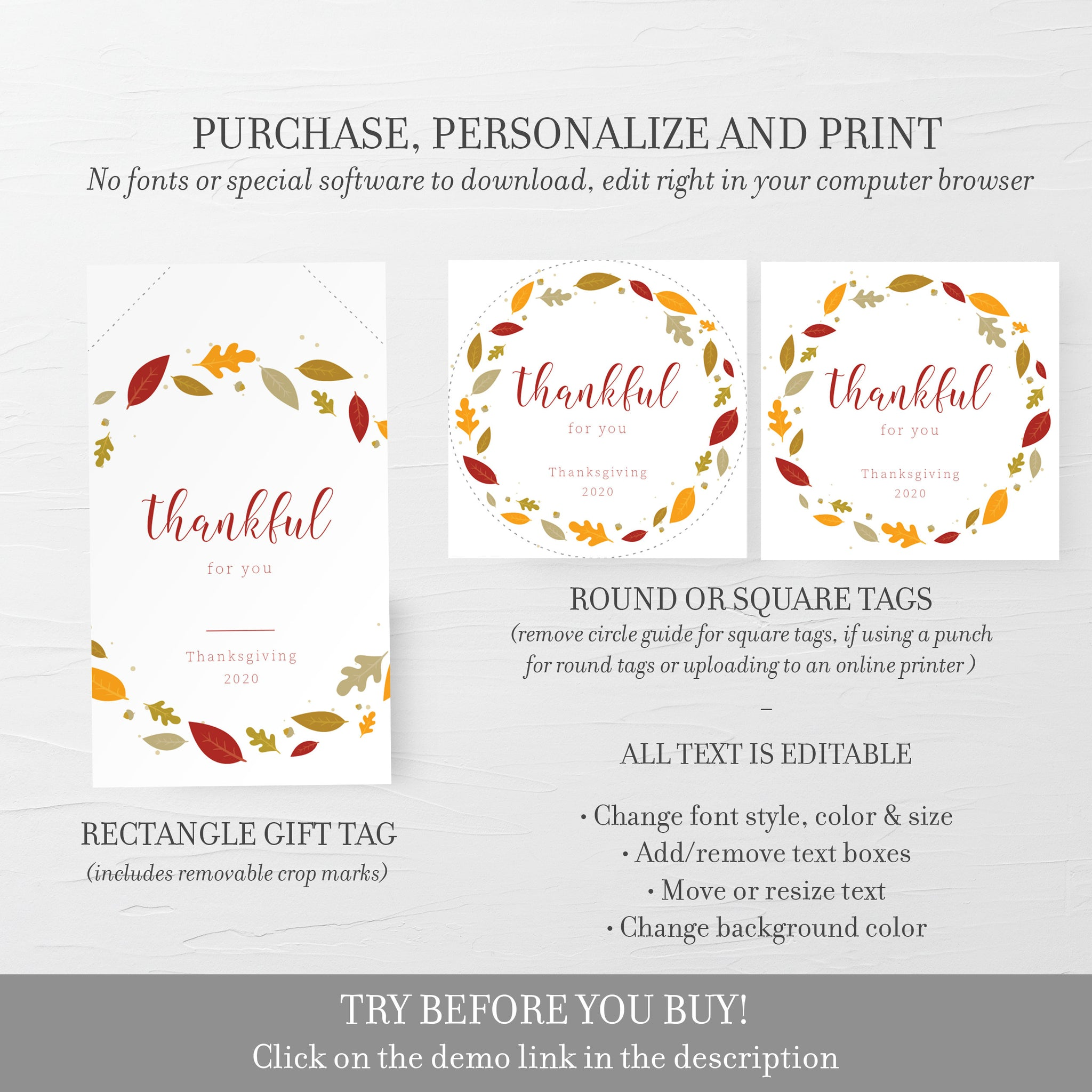 Thanksgiving Favors Tag Template, Thanksgiving Tags, Thankful For You, Thanksgiving Gift Tag Printable, Editable DIGITAL DOWNLOAD FL100