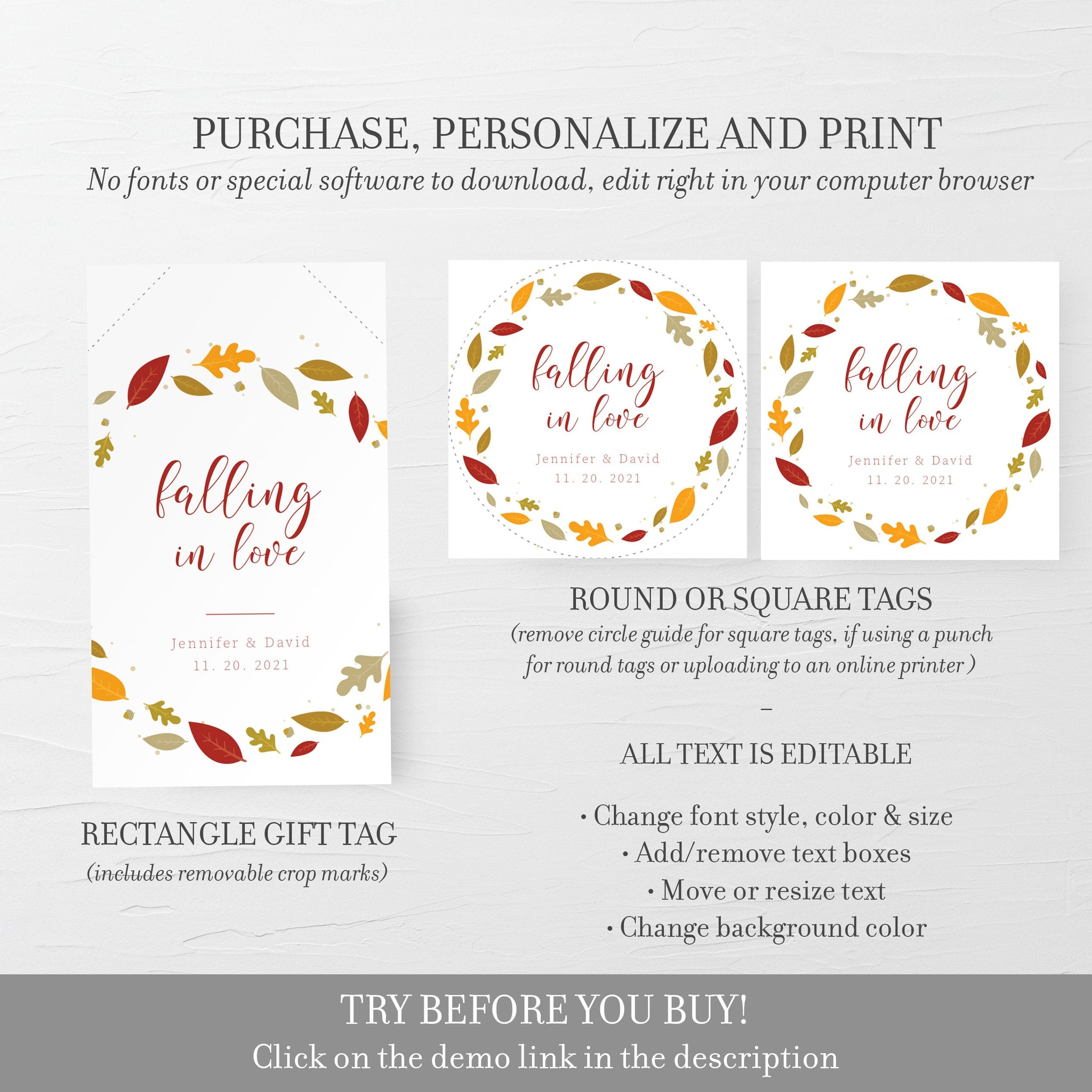 Fall Wedding Favor Tags, Fall In Love Wedding Favors Template, Falling In Love, Autumn Fall Wedding Ideas, Editable DIGITAL DOWNLOAD FL100