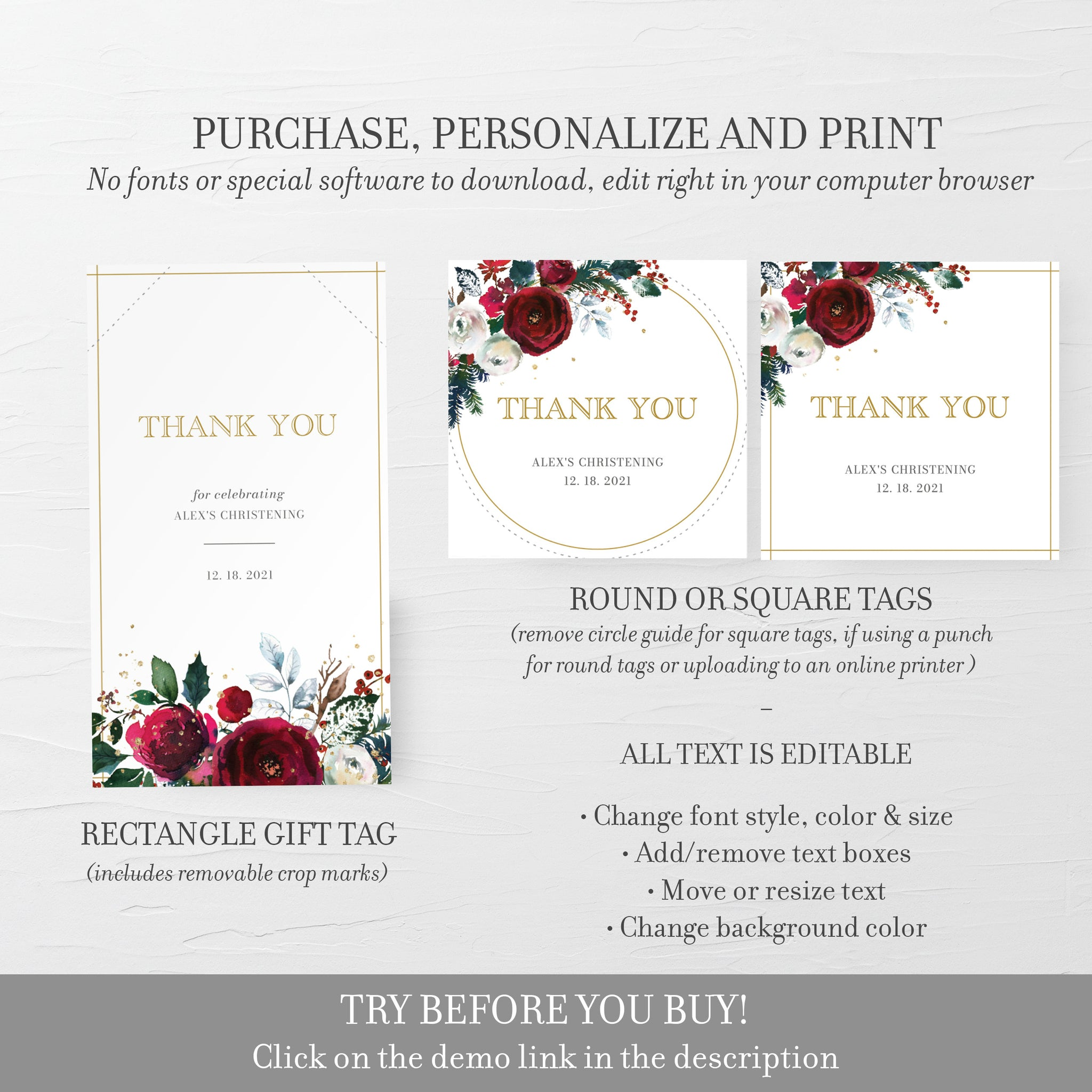 Christmas Christening Favor Tags Printable Template, Winter Christening Thank You, Round Square Rectangle, Editable DIGITAL DOWNLOAD CG100