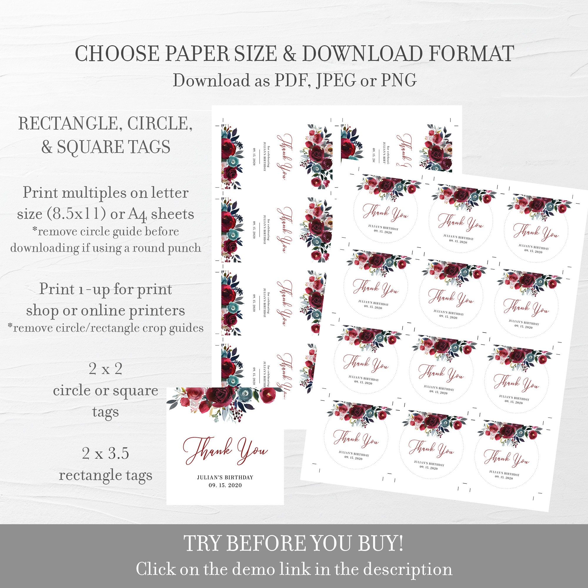 Burgundy Party Favor Tags Birthday, Birthday Party Favor Tags Girl, Favor Printable Template, Round Square, Editable DIGITAL DOWNLOAD BB100