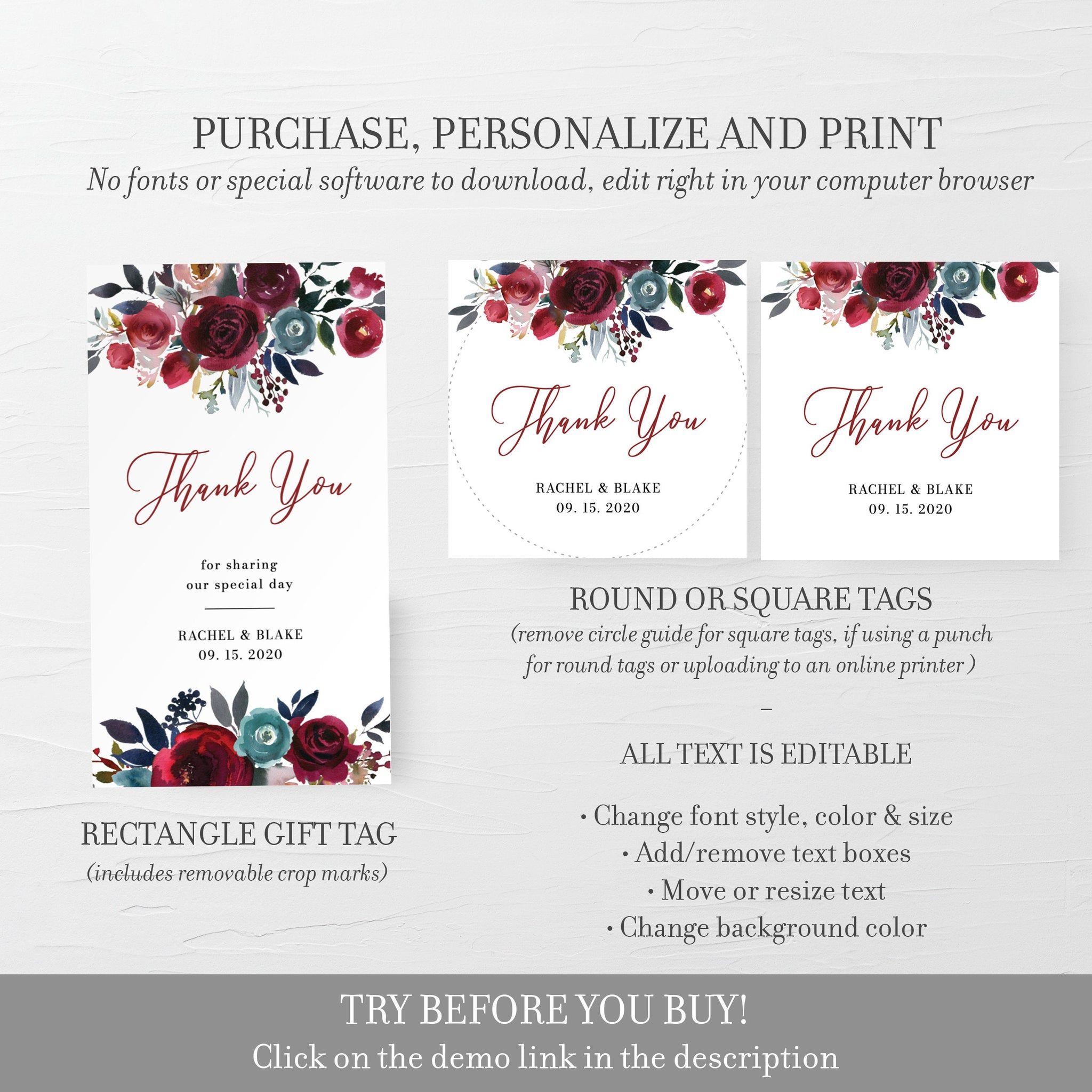 Wedding Favor Tags For Candles, Burgundy Floral Printable Thank You Tags for Wedding, Round Square, Editable DIGITAL DOWNLOAD BB100