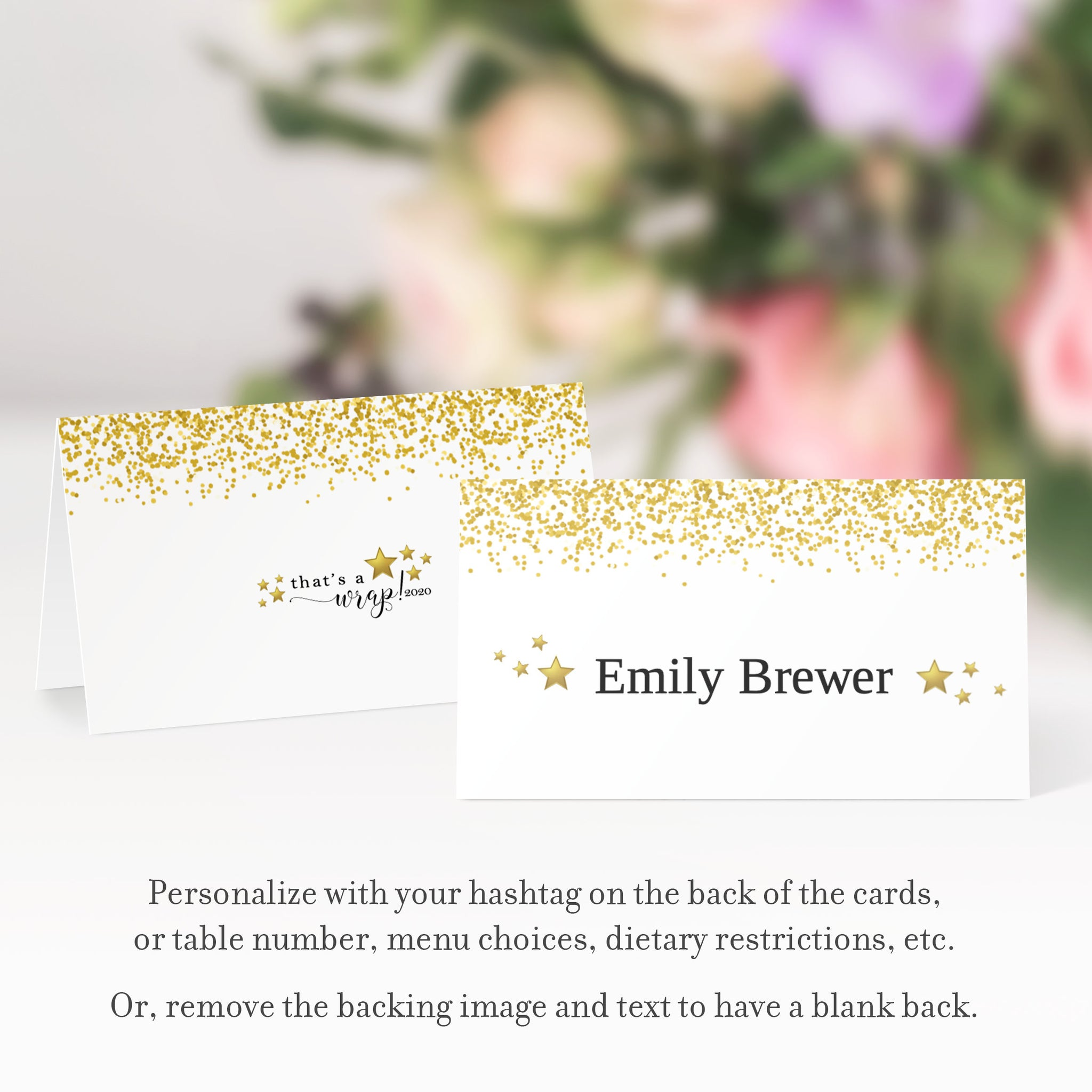 2020 New Years Eve Place Cards Template, Printable New Years Eve Decorations, Personalized New Years Name Cards, DIGITAL DOWNLOAD - NY100