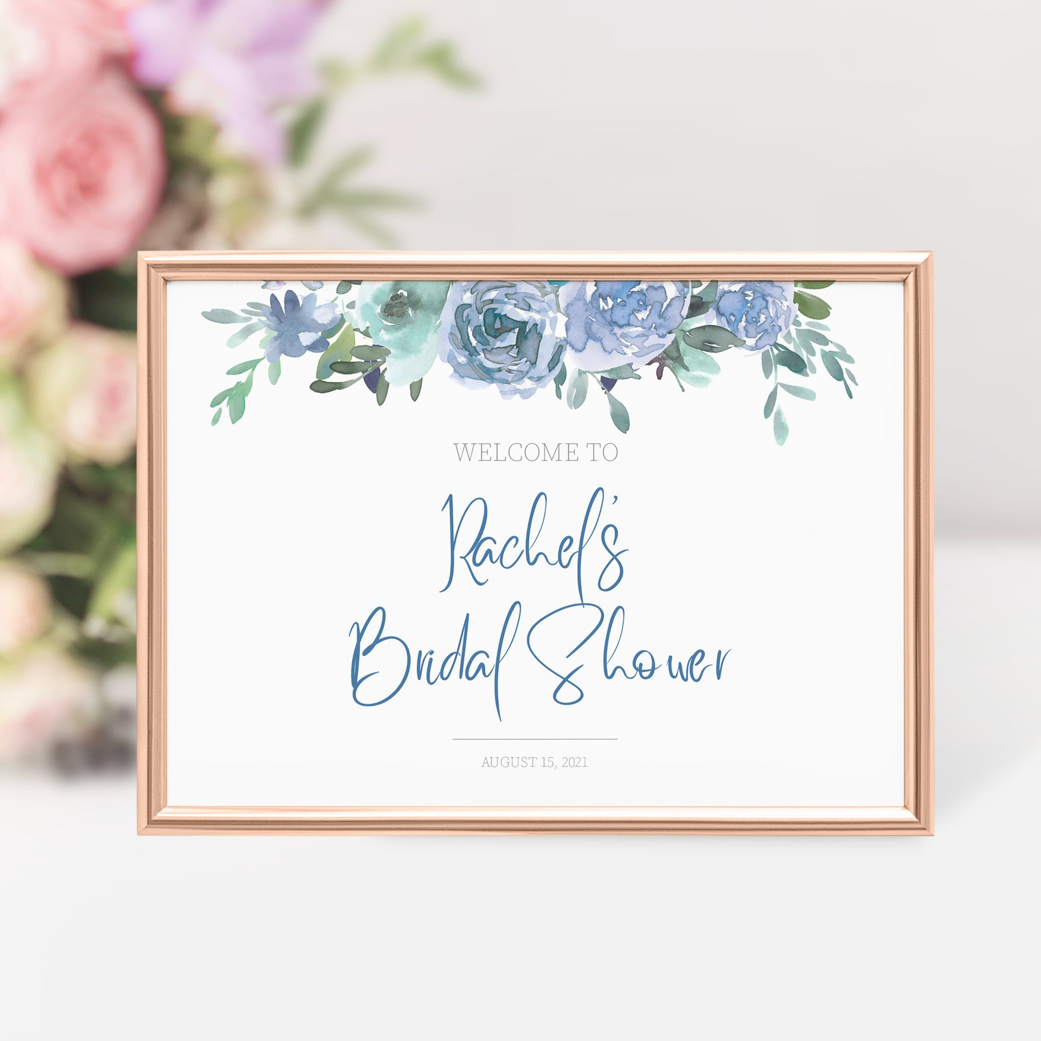Personalized Bridal Shower Welcome Sign Template, Large Welcome Sign Printable, Floral Bridal Shower Shower Sign, DIGITAL DOWNLOAD BF100