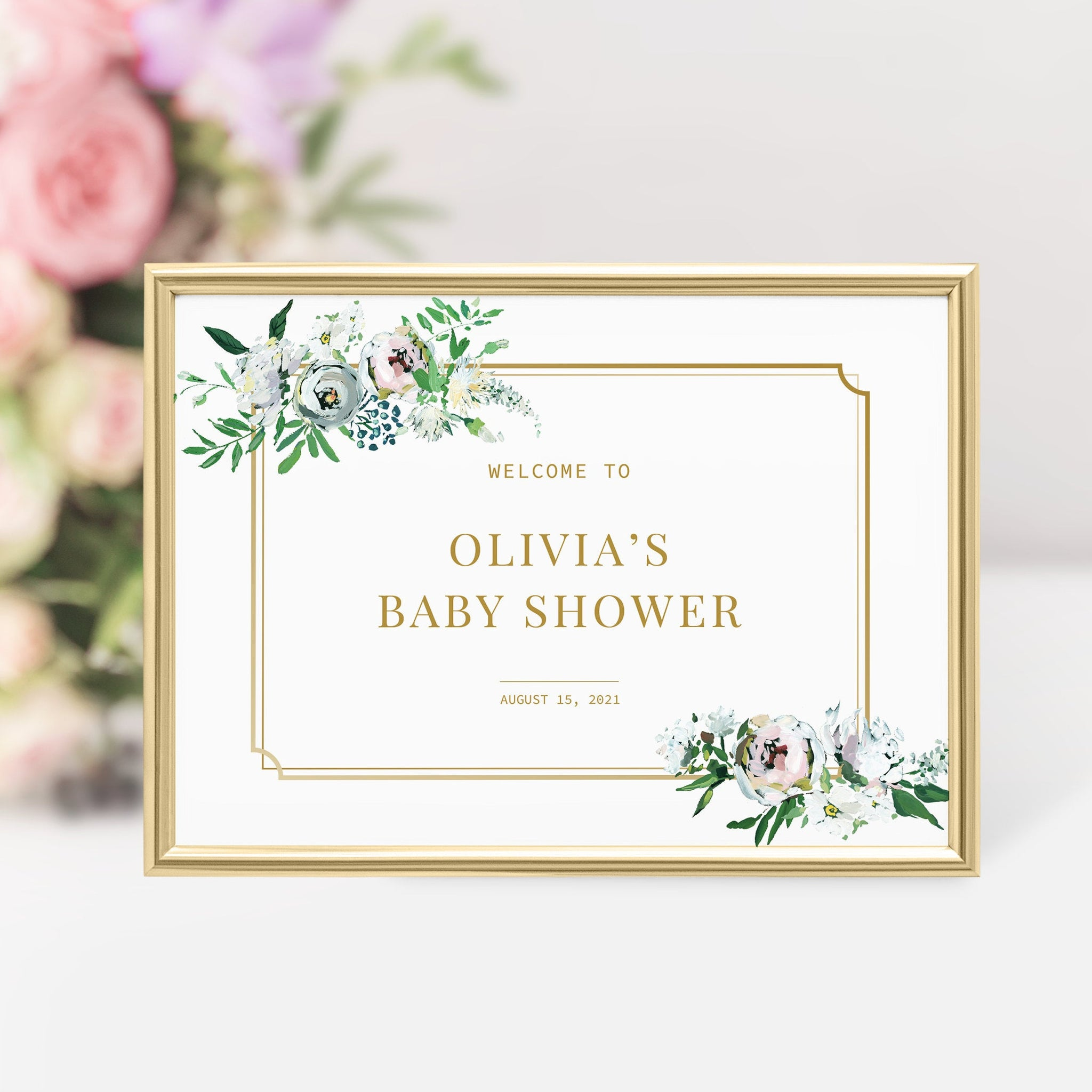Personalized Baby Shower Welcome Sign Template, Large Welcome Sign Printable, Gold and Pink Floral Baby Shower Sign, DIGITAL DOWNLOAD BGF100