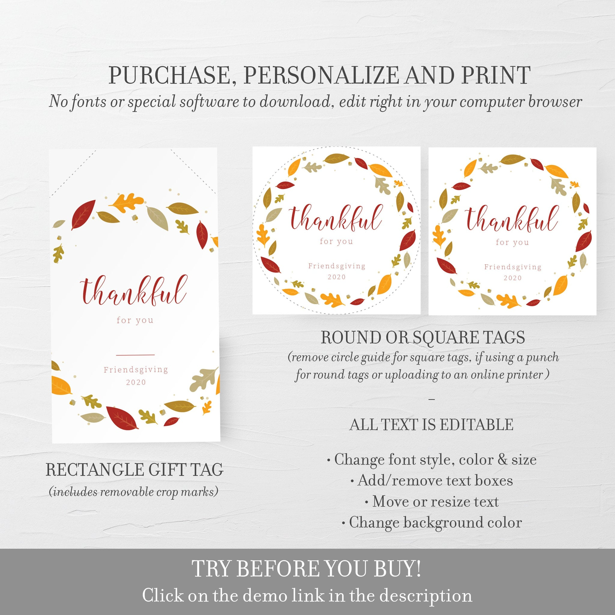 Friendsgiving Favors Tag Template, Friendsgiving Tags, Thankful For You, Friendsgiving Gift Tag Printable, Editable DIGITAL DOWNLOAD FL100