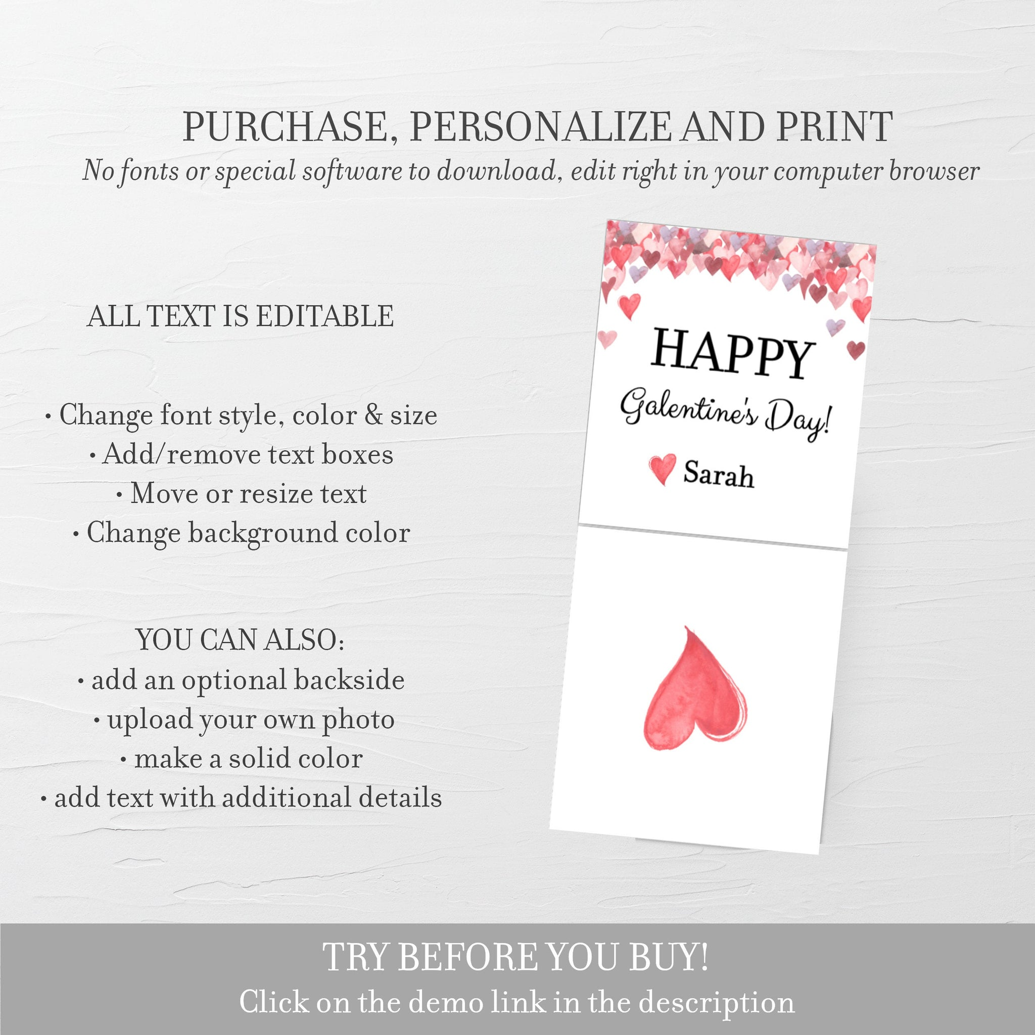 Printable Galentine Cards for Hair Scrunchies, Personalized Galentine's Day Tag Template, Galentine's Printable, DIGITAL DOWNLOAD - V100