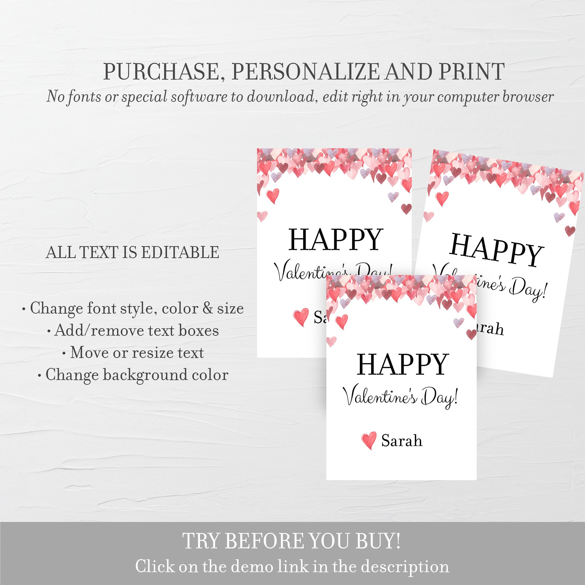 Printable Valentine Cards For Kids, Personalized Valentine Day Card Printable Template, DIY Valentines Day Card, DIGITAL DOWNLOAD V100
