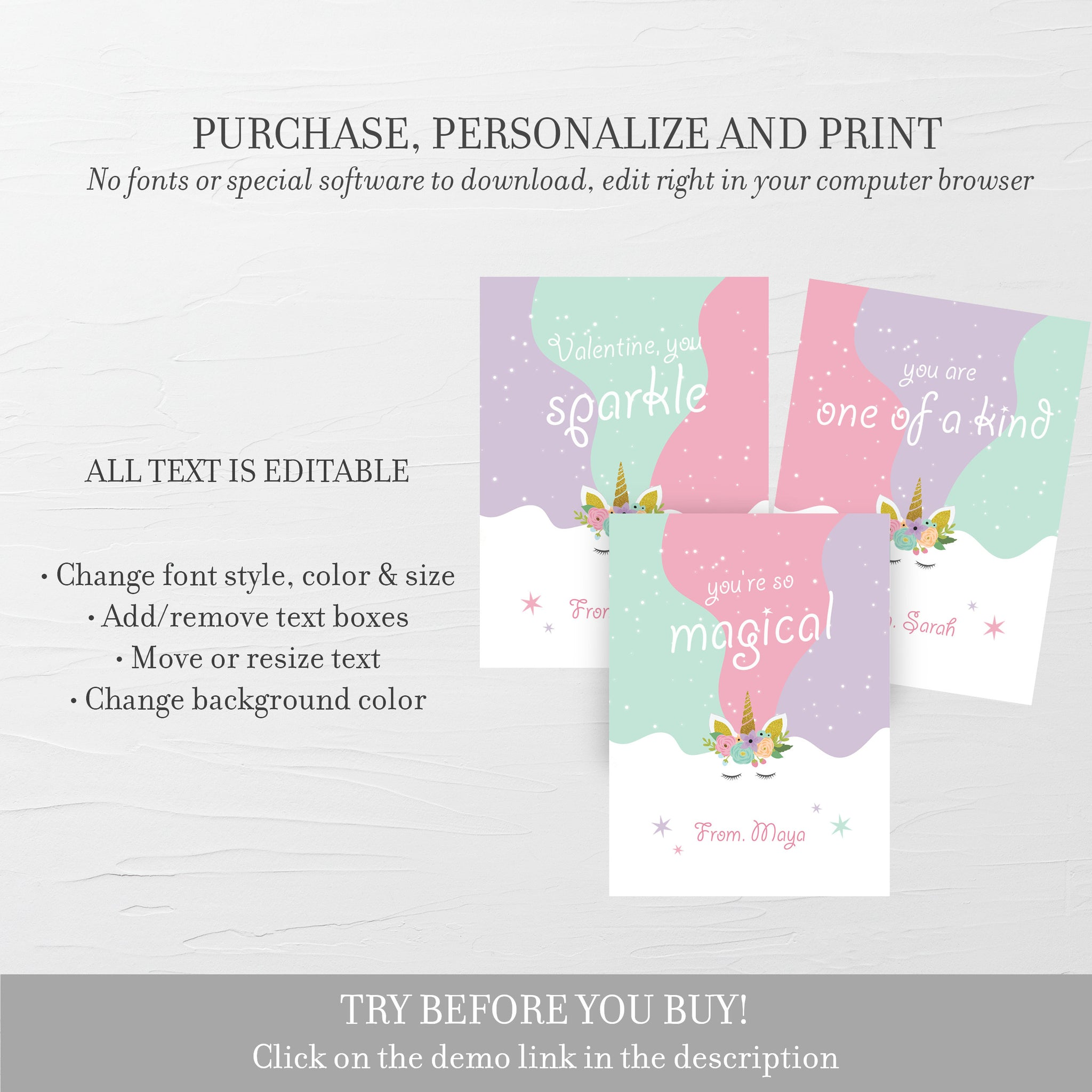 Unicon Printable Valentine Cards For Kids, Unicorn Valentine Day Card Printable Template, Unicorn Valentines, DIGITAL DOWNLOAD U100
