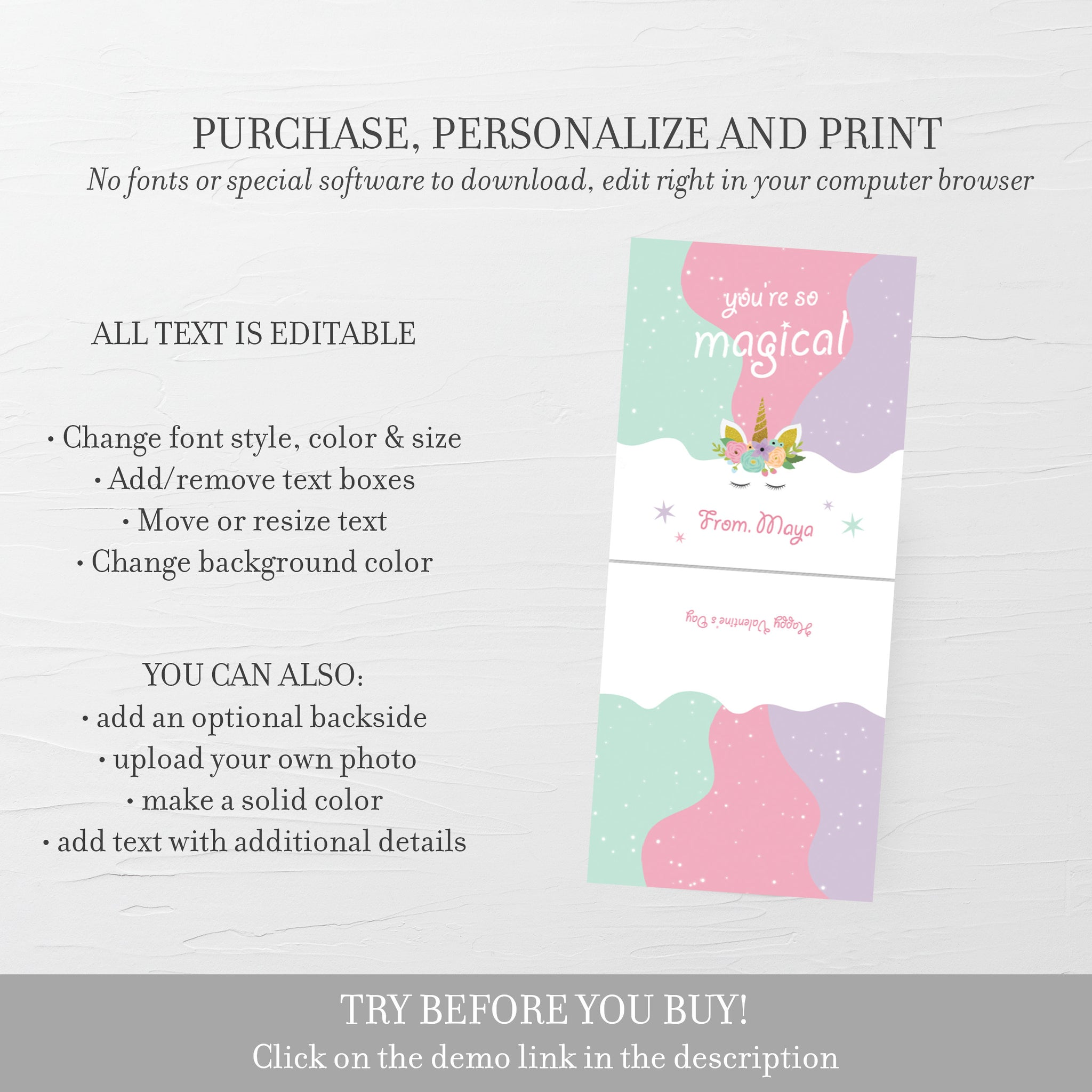 Printable Unicorn Valentine Card Template for Hair Scrunchies, Personalized Unicorn Valentine Scrunchie Tag, DIY DIGITAL DOWNLOAD U100