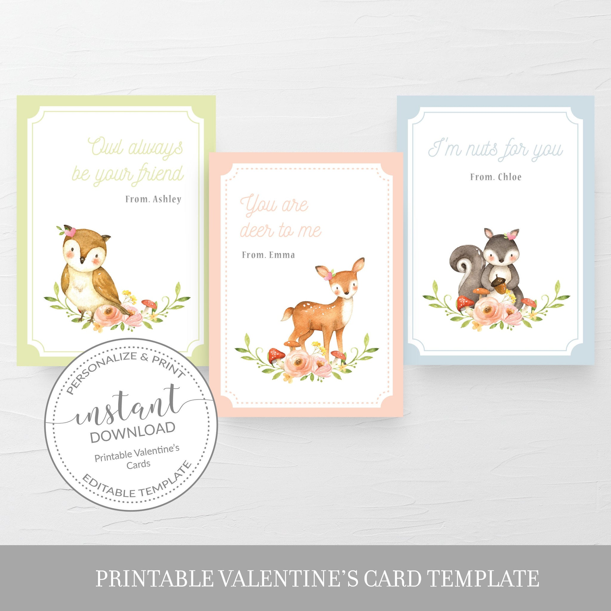 Woodland Printable Valentine Cards For Kids, Woodland Creatures Valentine Day Card Template, Animal Valentines, DIGITAL DOWNLOAD W100