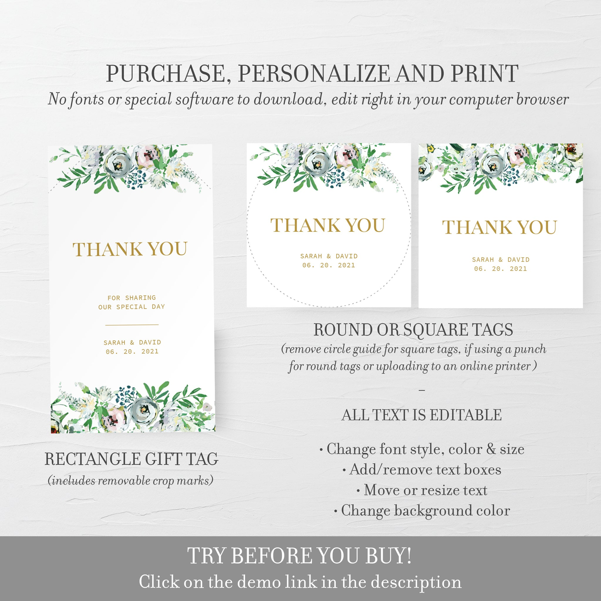 Personalized Wedding Favor Tags For Candles, Blush Floral Greenery Printable Thank You Tags for Wedding, Editable DIGITAL DOWNLOAD BGF100