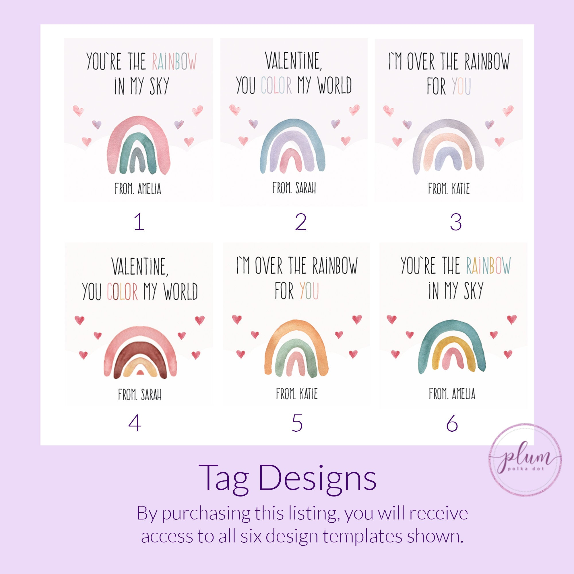 Printable Rainbow Valentine Card Template for Hair Scrunchies, Personalized Rainbow Valentine Scrunchie Tag, DIGITAL DOWNLOAD R100