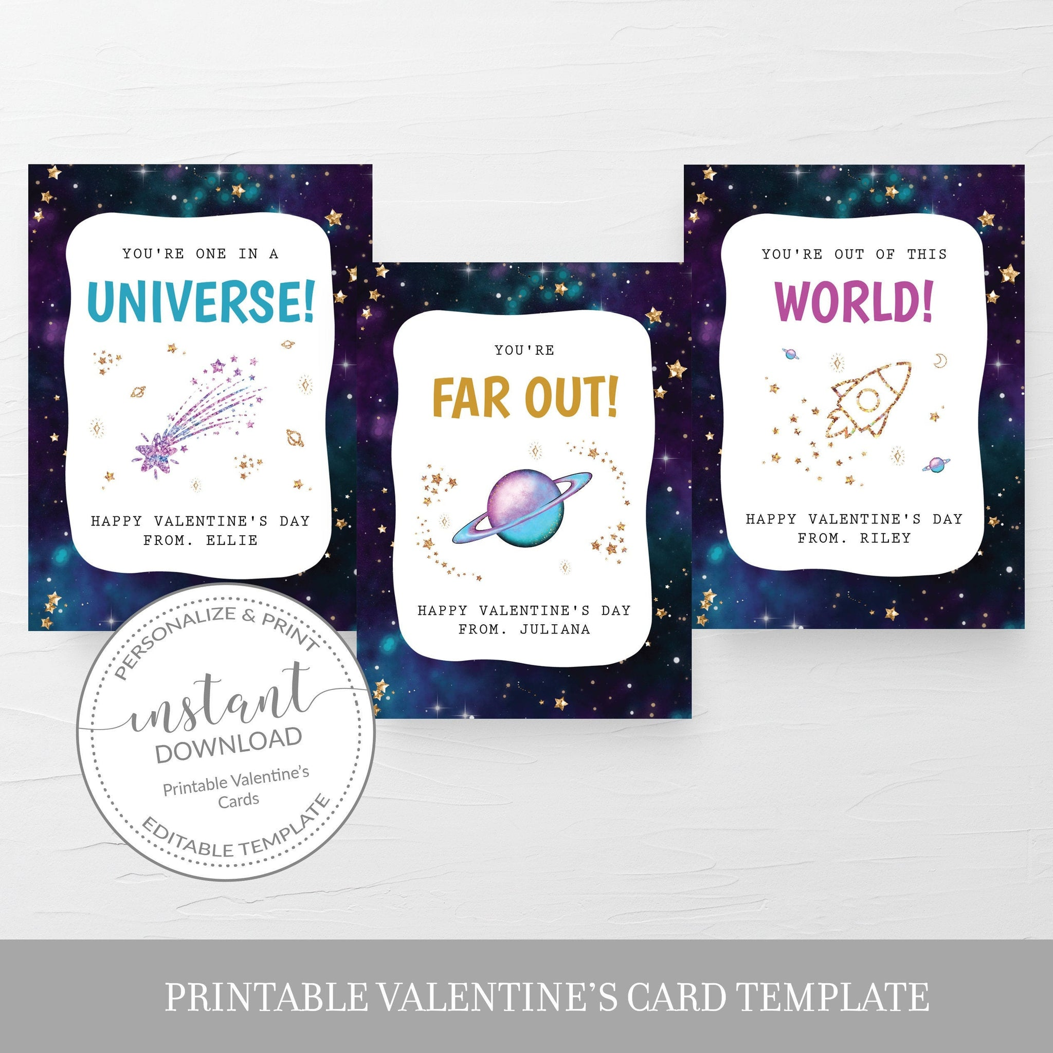 Outer Space Printable Valentine Cards For Kids, Galaxy Valentine Day Card Printable Template, Outer Space Valentines, DIGITAL DOWNLOAD SG100