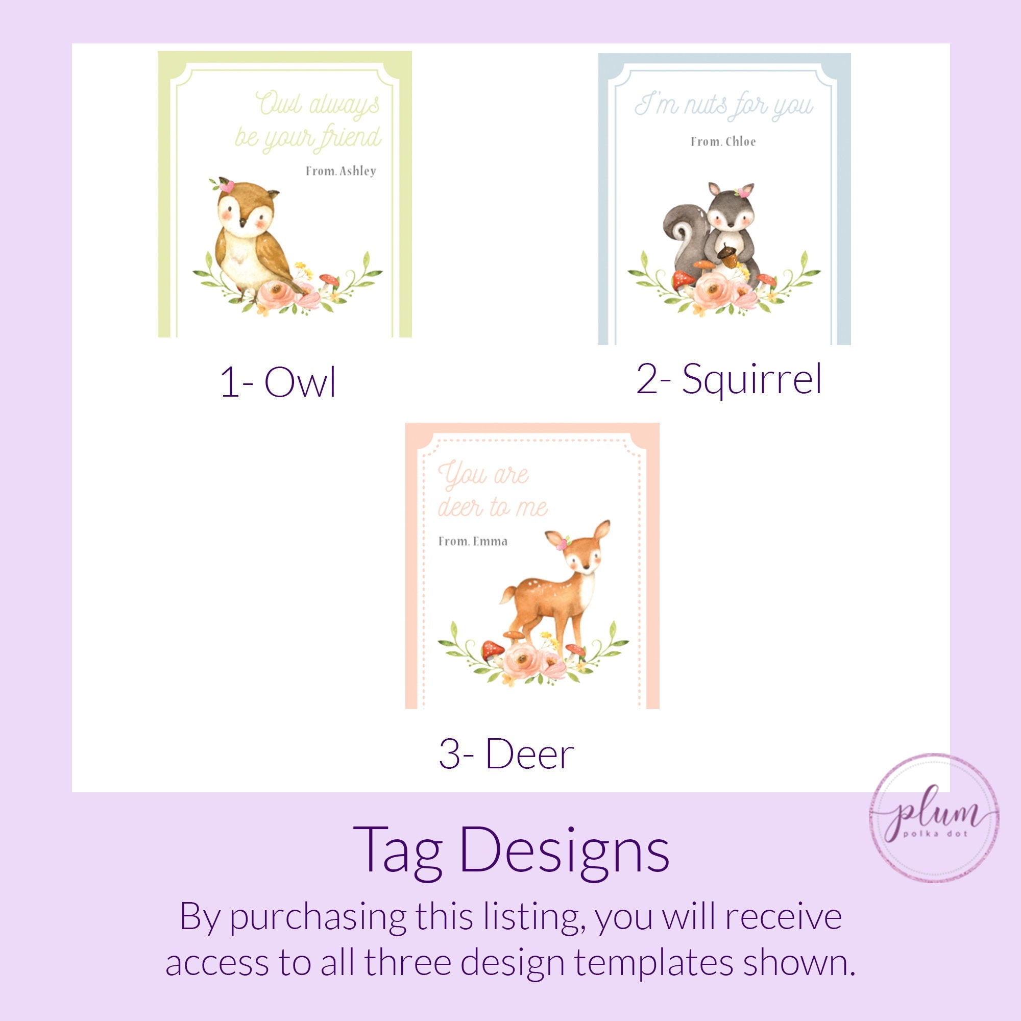 Printable Woodland Valentine Card Template for Hair Scrunchies, Personalized Woodland Creature Valentine Scrunchie Tag DIGITAL DOWNLOAD W100