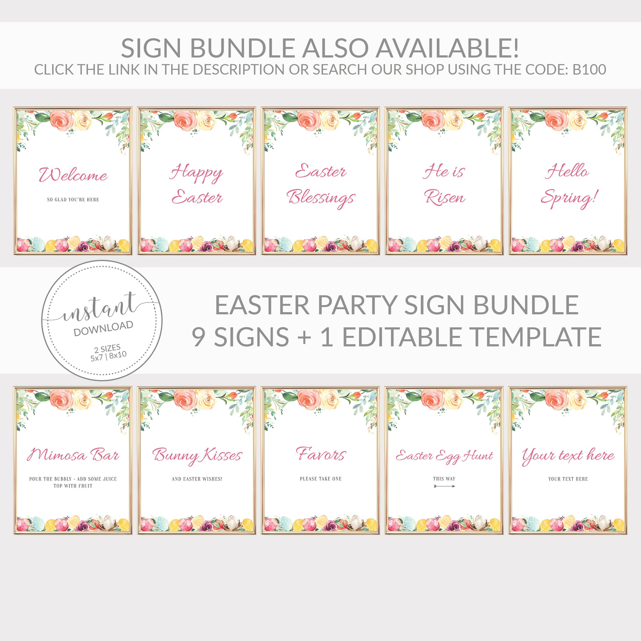 Easter Sanitize Before Entering Sign Printable, Printable Easter Welcome Sign, Easter Party Decorations and Supplies, DIGITAL DOWNLOAD B100