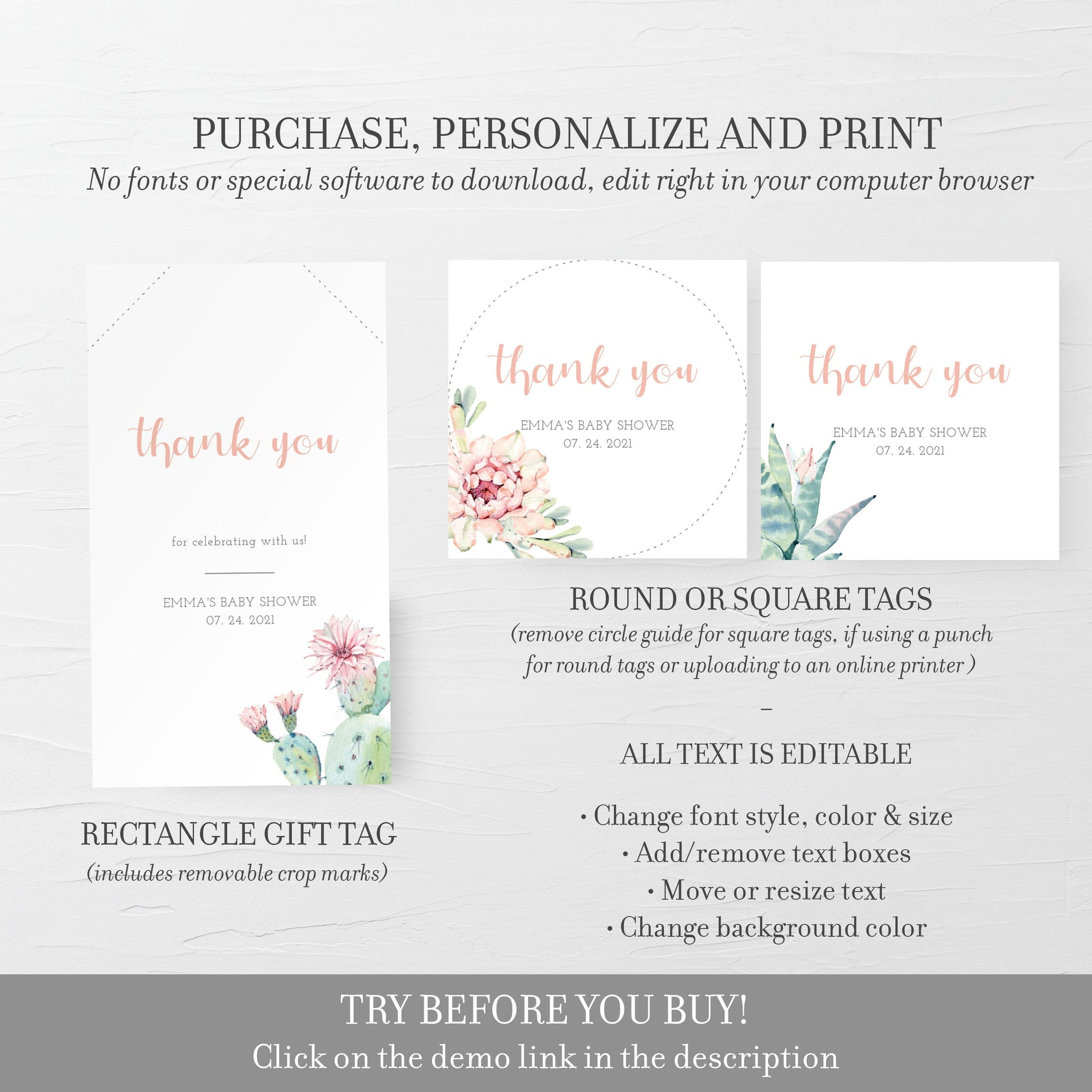 Cactus Baby Shower Favor Tags, Succulent Favor Tags Printable Template, Round Square or Rectangle, Editable DIGITAL DOWNLOAD - CS100