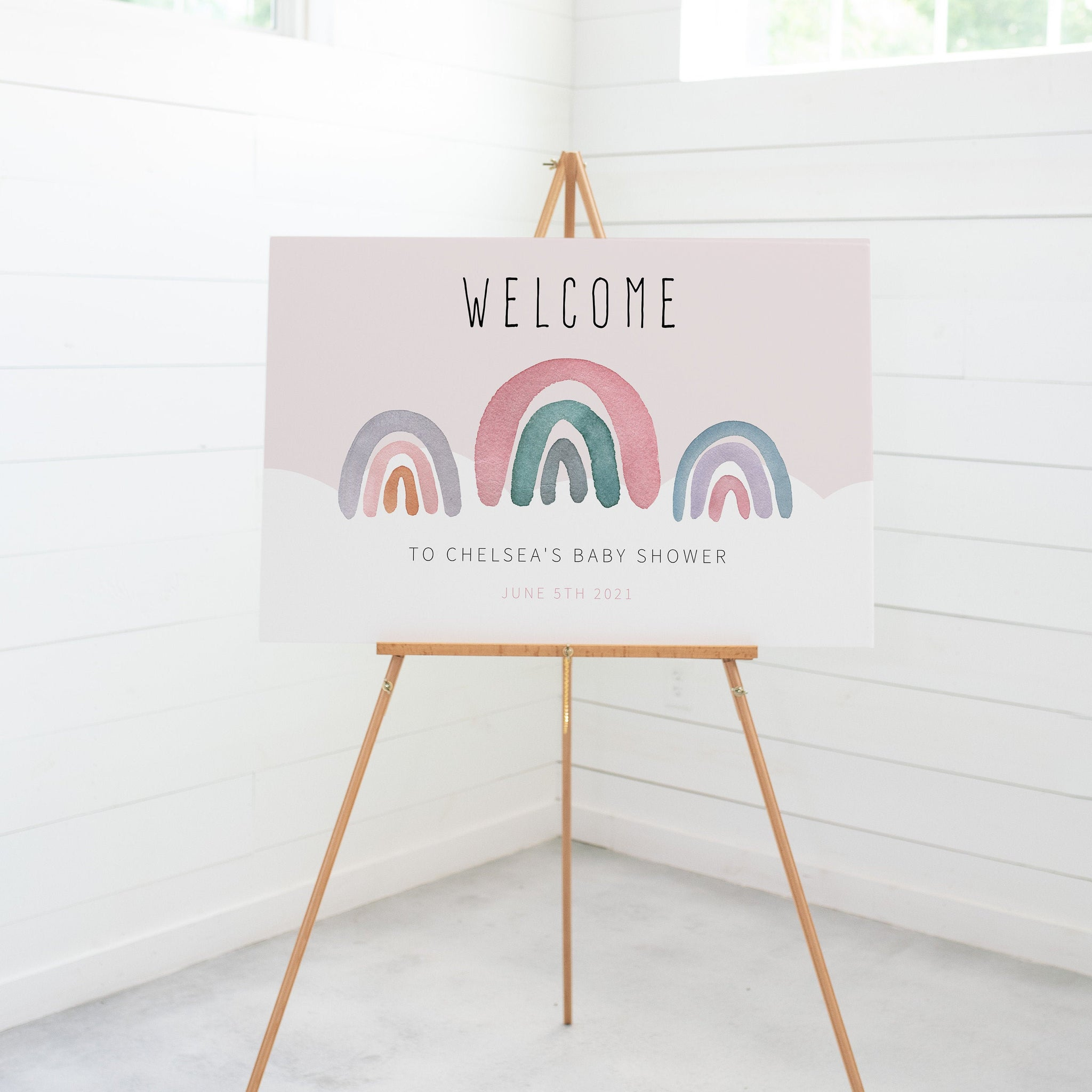 Boho Rainbow Baby Shower Welcome Sign Template, Printable Rainbow Baby Shower Decorations, Large Rainbow Welcome Sign, DIGITAL DOWNLOAD R100