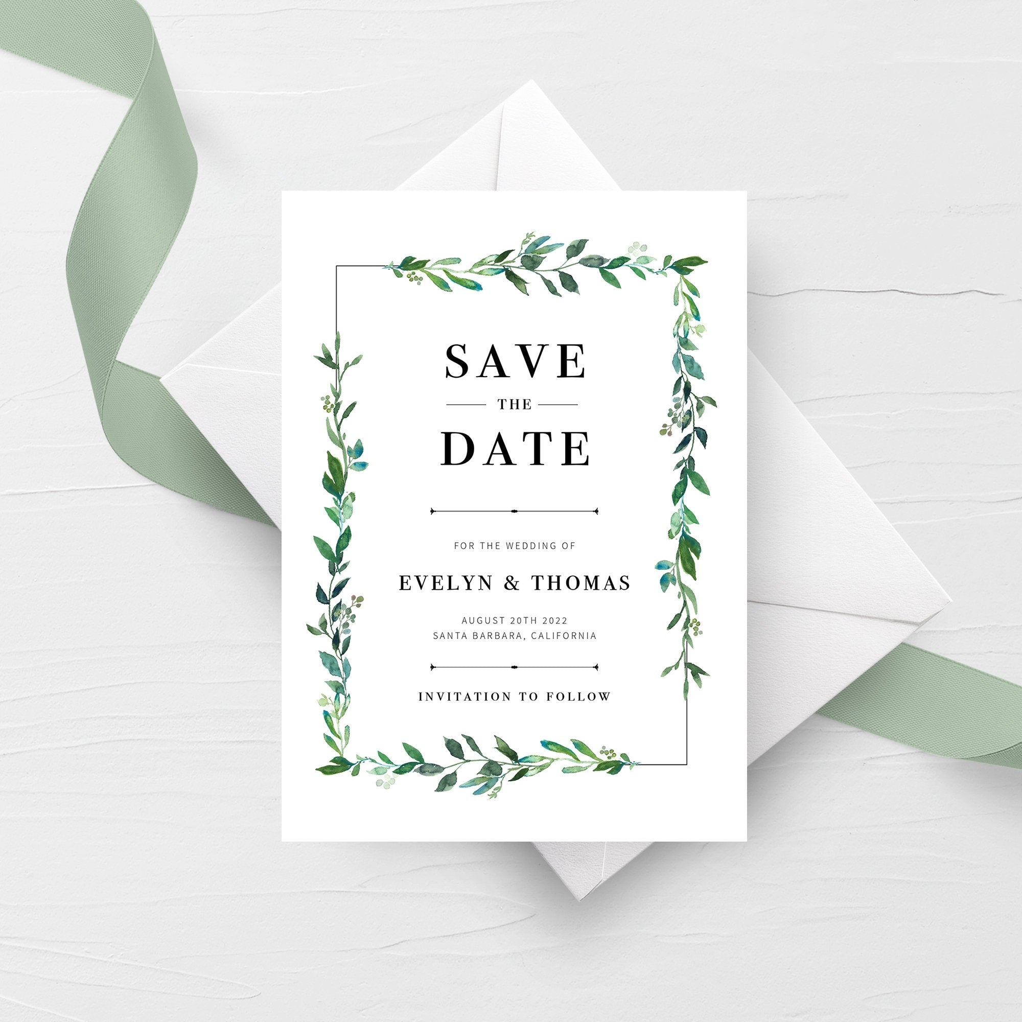 Greenery Save The Date Card Template, Printable Save The Date Greenery, Editable Save The Date Template, DIY Wedding Stationary, 5x7 G100