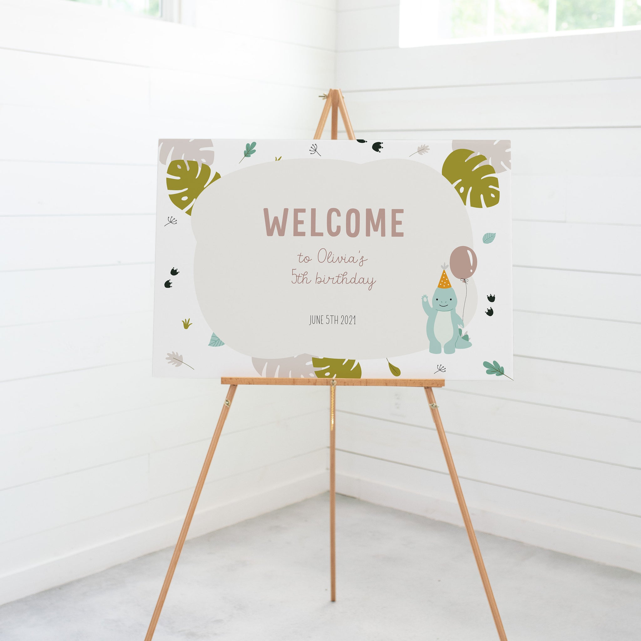 Dinosaur Party Welcome Sign Template, Dinosaur Party Printables Decorations, Dinosaur Birthday Welcome Sign, DIGITAL DOWNLOAD - LD100