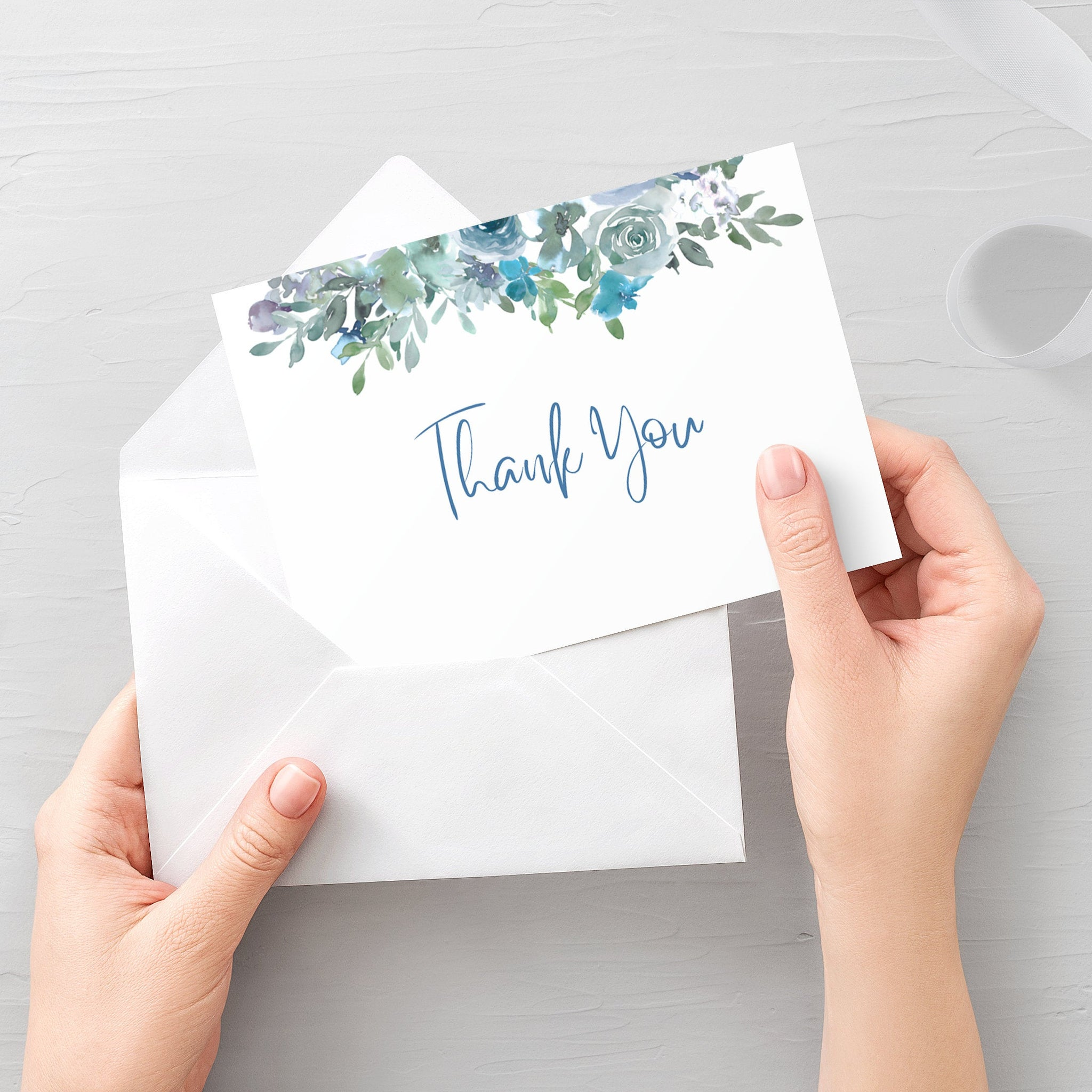 Blue Floral Thank You Card Printable, Blue Floral Wedding Thank You Note, Folded and Flat 5X3.5, Editable Template DIGITAL DOWNLOAD - BF100