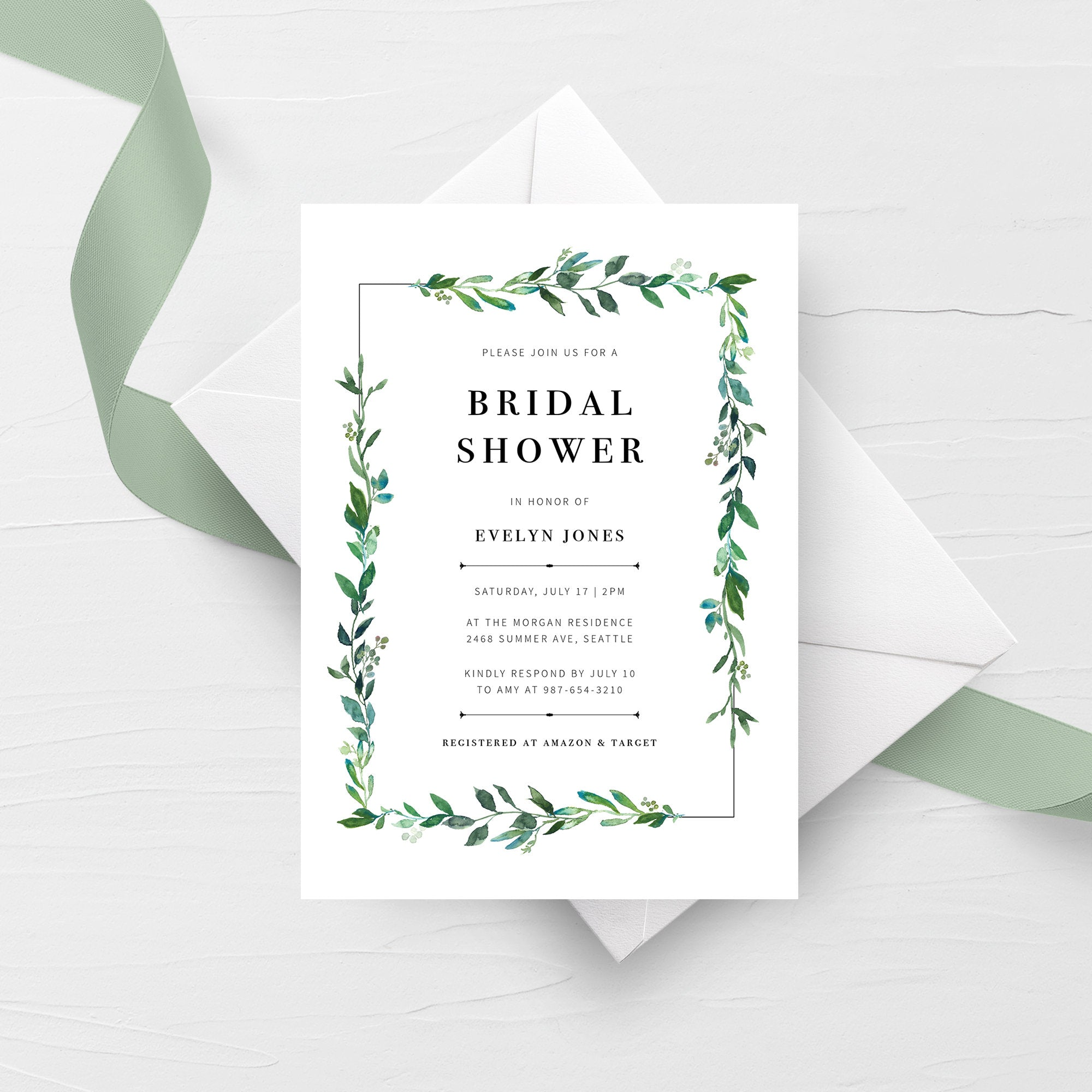 Greenery Bridal Shower Invitation Template, Printable Bridal Shower Invite Greenery, Bridal Shower Invitation Greenery, 5x7 G100
