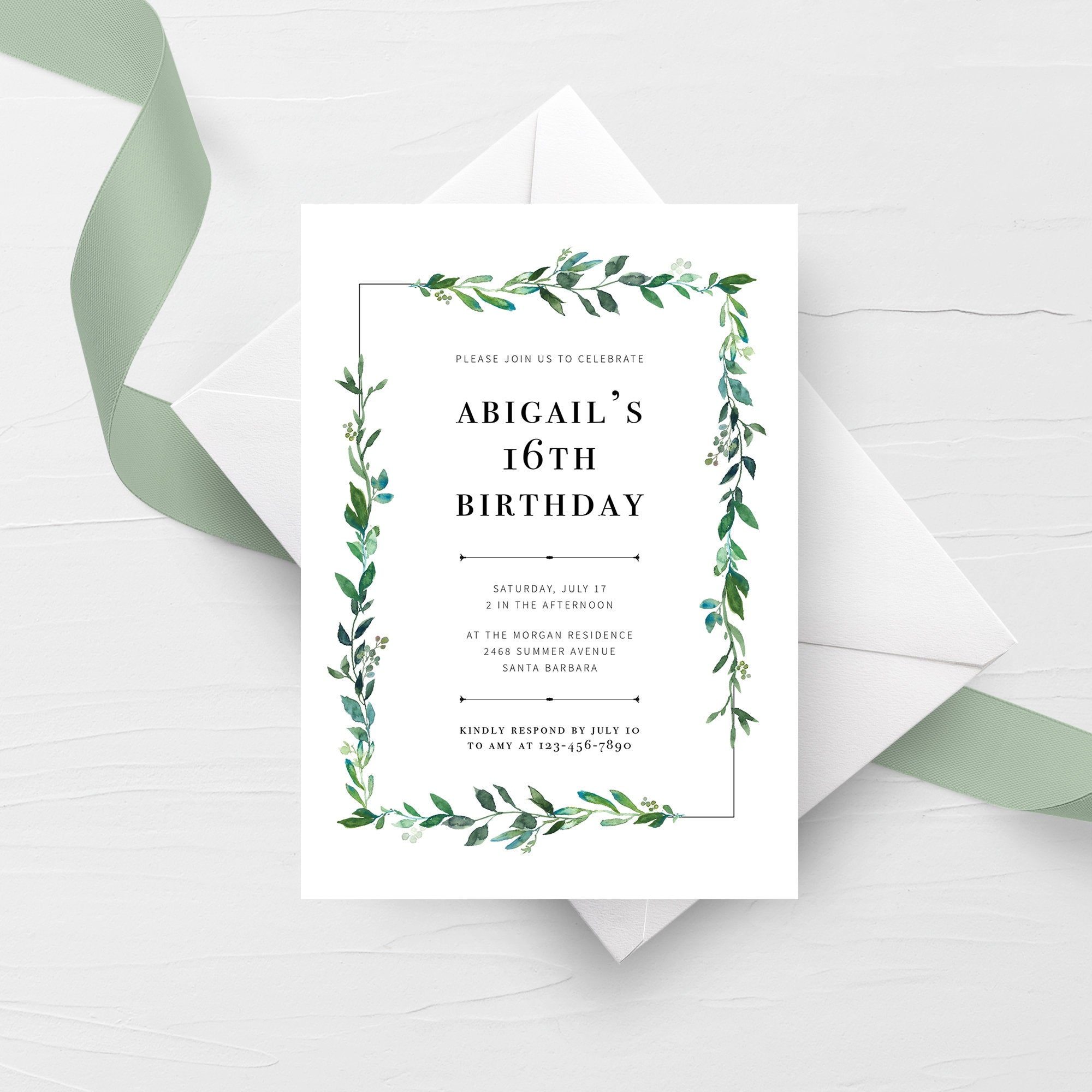 Greenery Birthday Party Invitation Template, Printable Birthday Invite, 16th Birthday Invitation Greenery, Greenery Invitation 5x7 G100