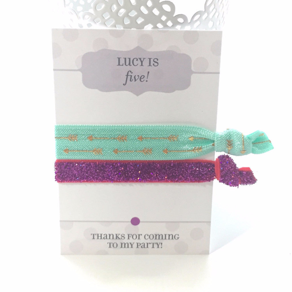 Birthday Party Favors - Gold Arrows & Fuchsia Glitter Hair Ties - @PlumPolkaDot