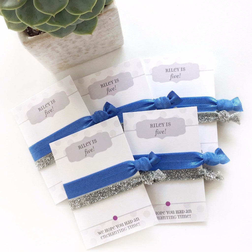 Royal Blue & Silver Glitter Hair Tie Favors - Gifts for Her - @PlumPolkaDot