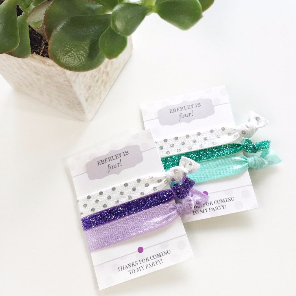 Purple & White Hair Tie Favors - Hair Accessories for All Occasions - @PlumPolkaDot