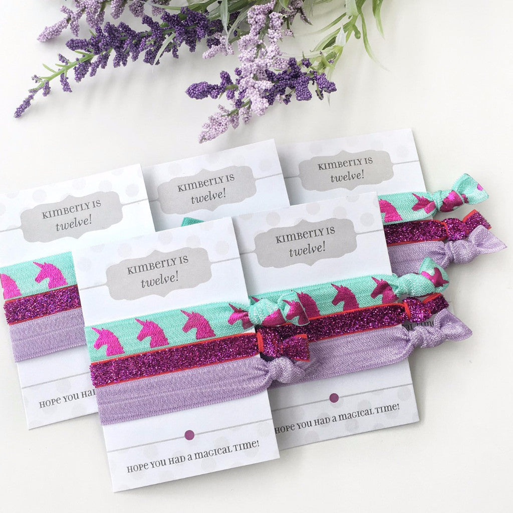 Personalized Unicorn & Glitter Hair Tie Party Favors - @PlumPolkaDot