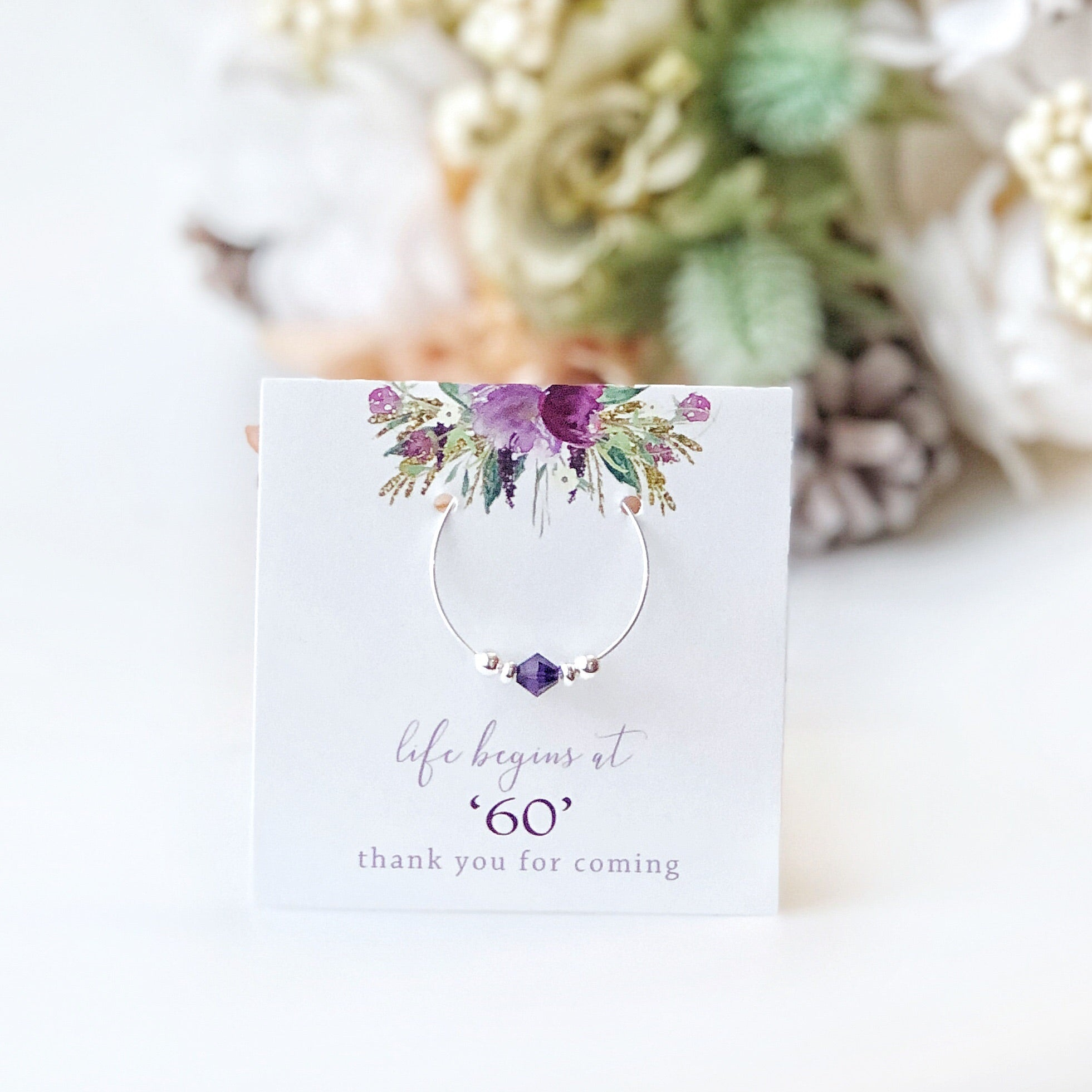 Purple 60th Birthday Party Favors - Stemware Charms - @PlumPolkaDot