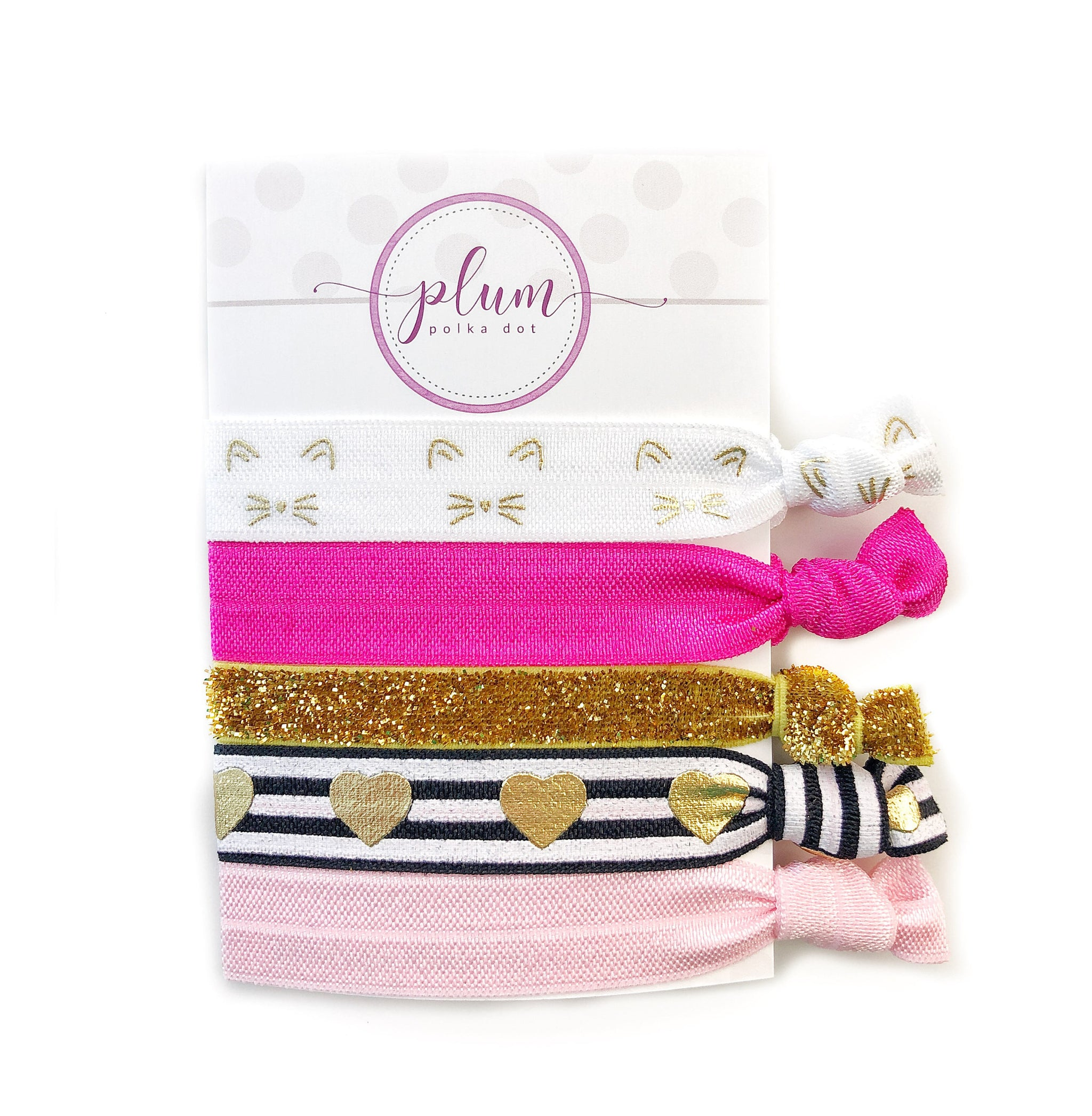 Kitty Cat Hair Ties - Set of 5 - @PlumPolkaDot