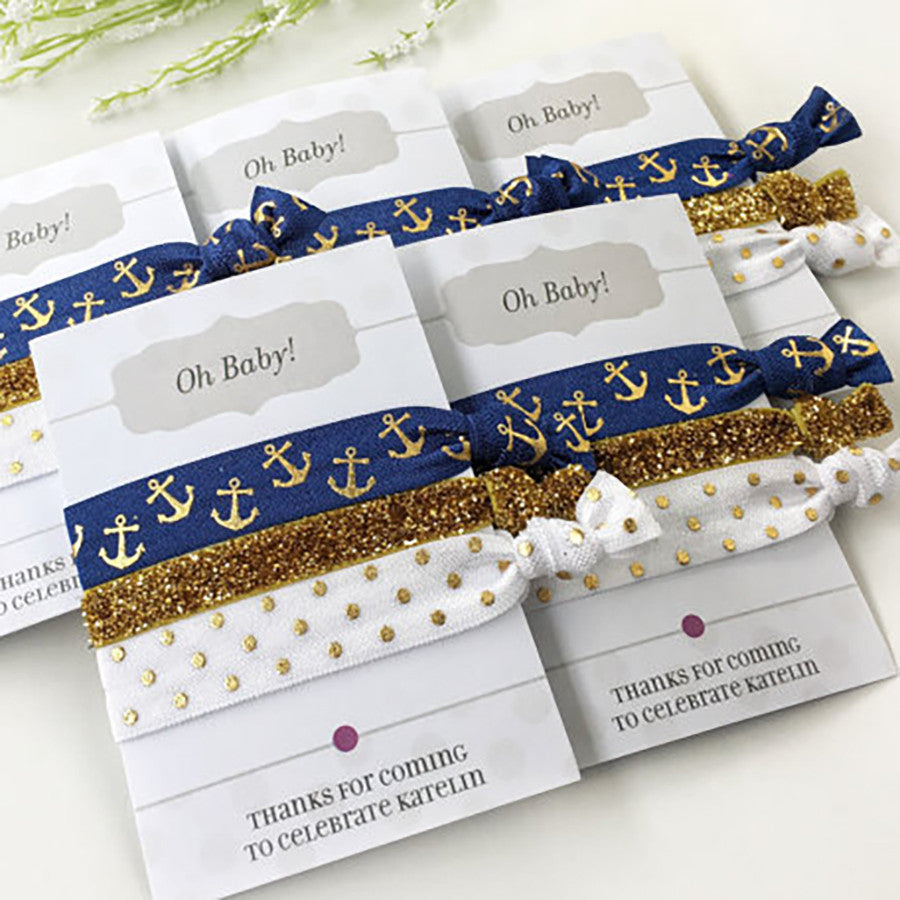 Nautical Party - Custom Party Gift - Hair Tie Party Favors - @PlumPolkaDot