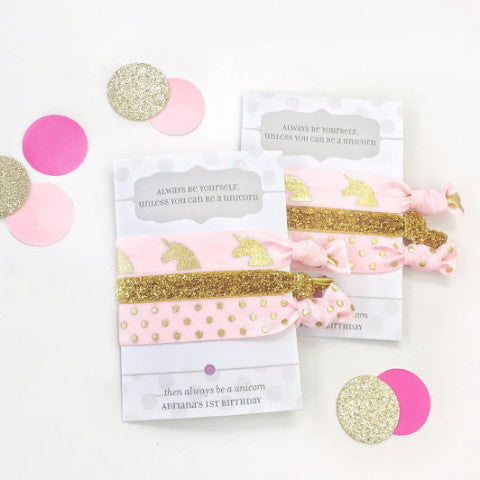 Pink & Gold Glitter Unicorn Party Favors - Unicorn Party - @PlumPolkaDot