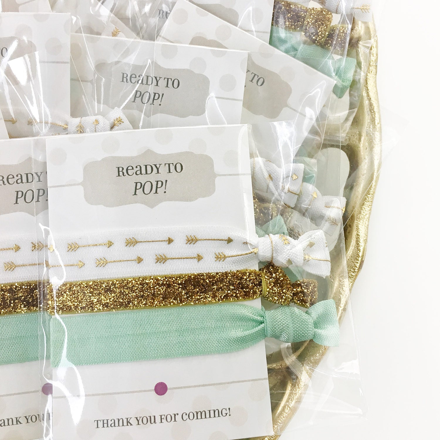 Ready to Pop Baby Shower Favors - Gender Neutral Mint and Gold Favors - @PlumPolkaDot