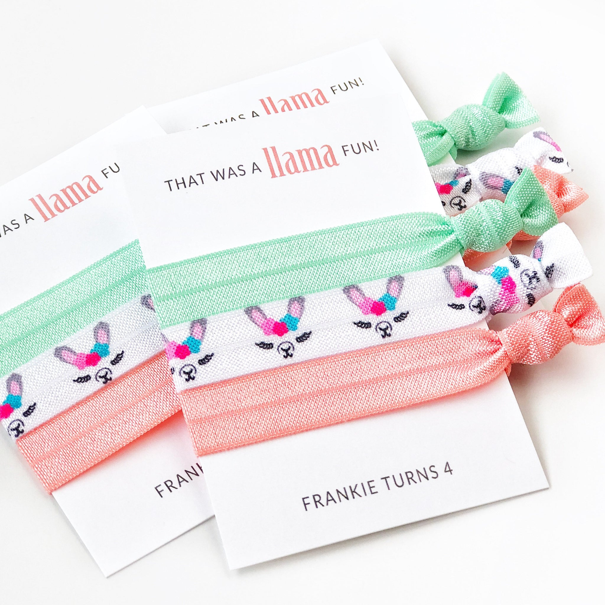 Llama Party Favors - Mint and Coral - Llama Party Supplies - @PlumPolkaDot
