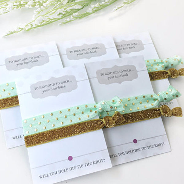 Will You Help Me Tie The Knot - Bridesmaid Proposal Hair Ties - @PlumPolkaDot