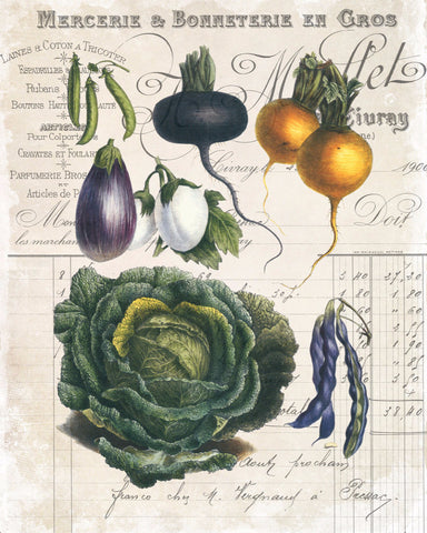 French Vegetable Collage No.4 - Botanical Print
