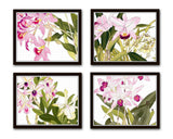Tropical Woodblock Orchids Botanical Print No.3 - Giclee Print