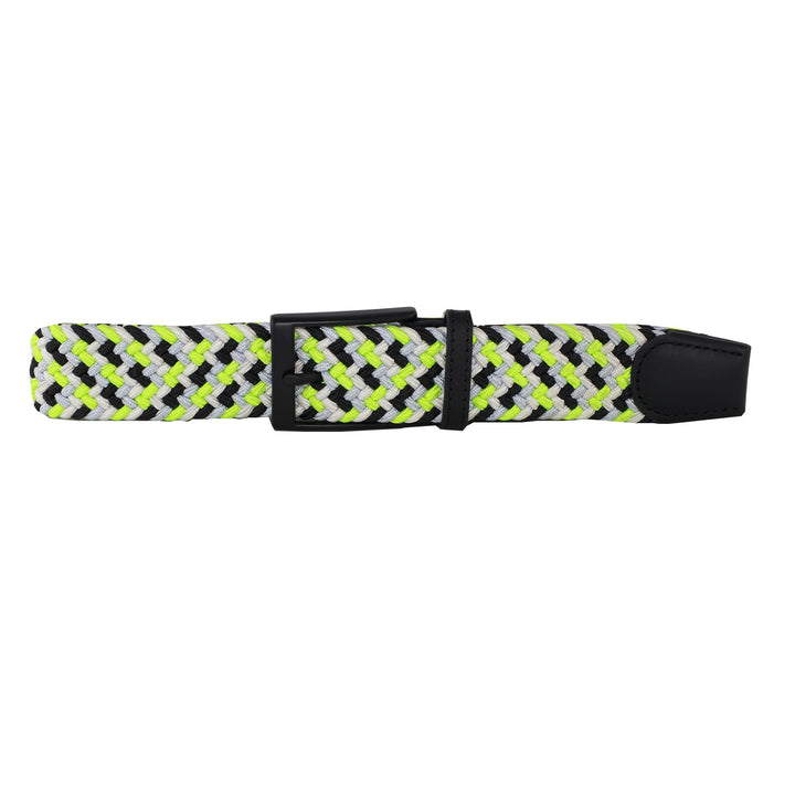 Black, White, Neon Yellow, & Silver Elastic Belt