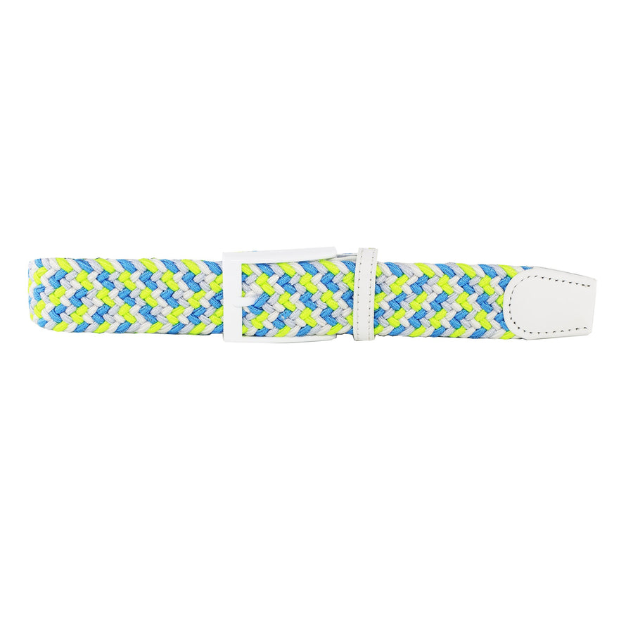 Neon Blue, White, Silver, & Neon Green Elastic Belt