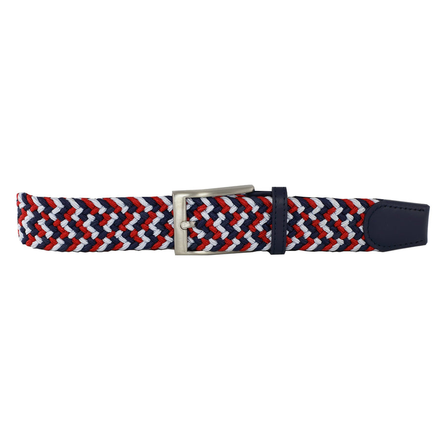 Navy, Red, & Silver Elastic Belt