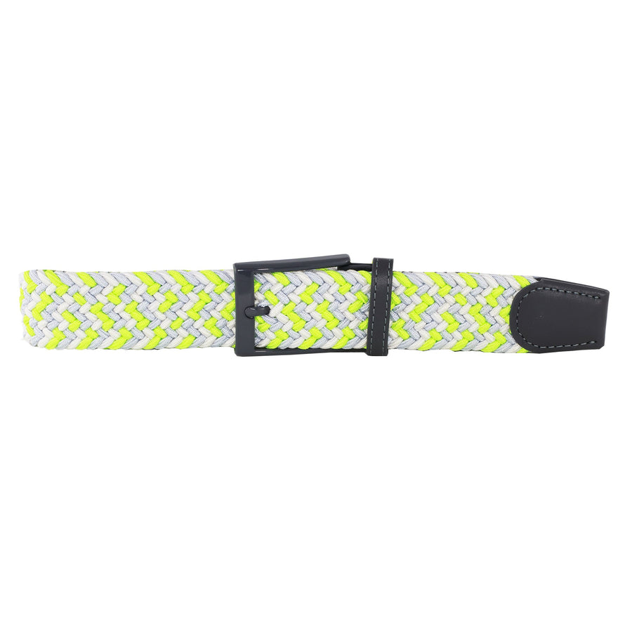 White, Grey, & Neon Yellow Elastic Belt
