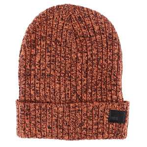 Black & Neon Orange Melange Beanie