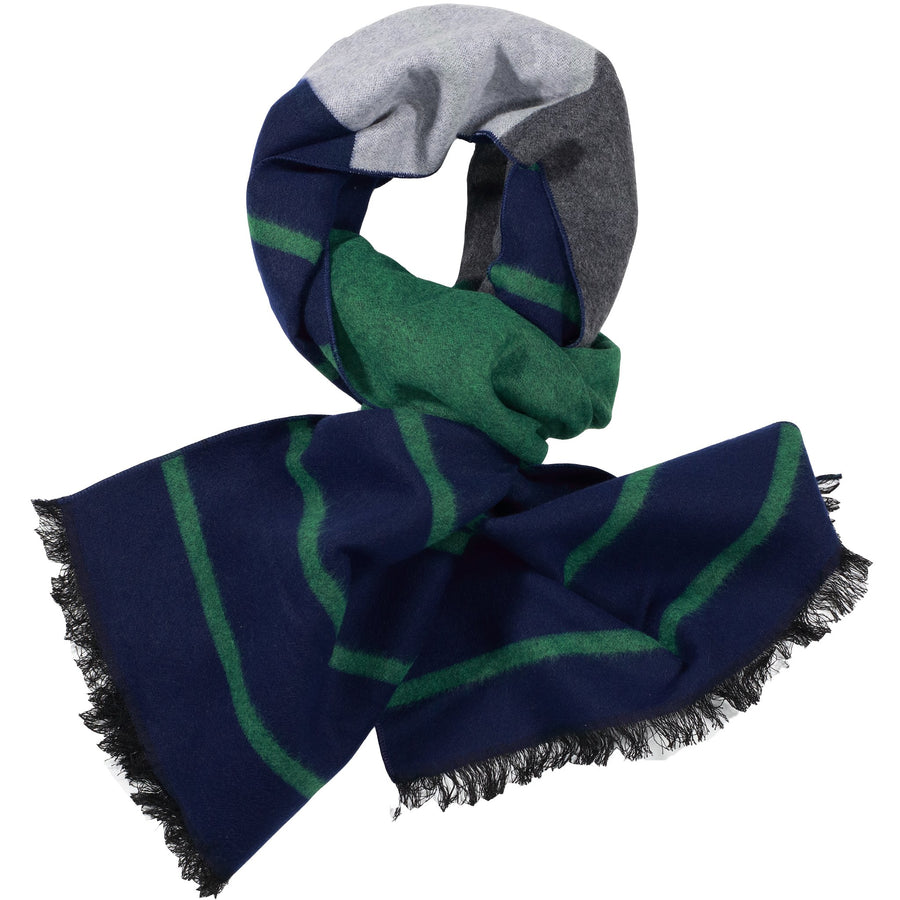 Light Grey, Green, & Navy Scarf